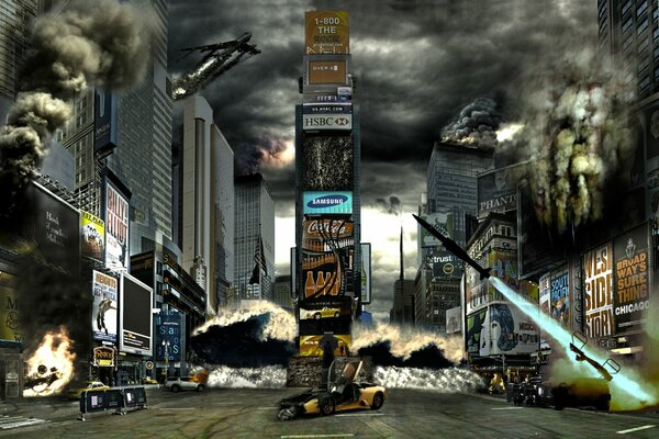 New York Times Square street houses art disaster country USA America flag banner the worlds war smoke plane shooting death horror apocalypse crash accident fire flame people soldiers installation shot