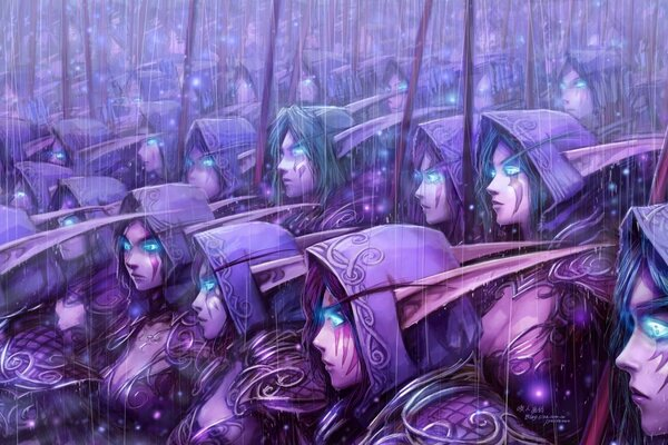 elves army world of warcraft blue eyes art night elves blizzard entertainment wow video games background