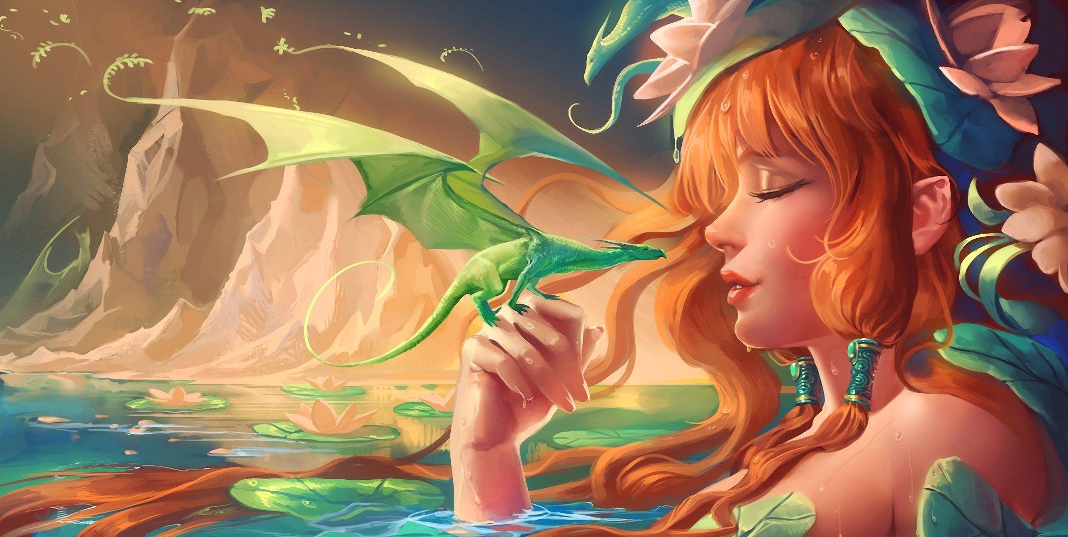 Нарисованый фэнтезийный зеленый дракон  № 3349218 загрузить