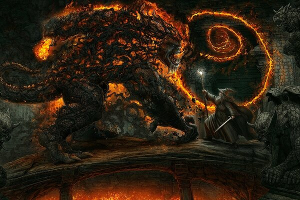 Kerem Beyit Bridge of Khazad-dum The Lord of the Rings Mines of Moria Gandalf Balrog Shadow & fire battle fantasy art Властелин Колец мост Казад-дум Мория копи волшебник Гэндальф Балрог меч жезл бой о