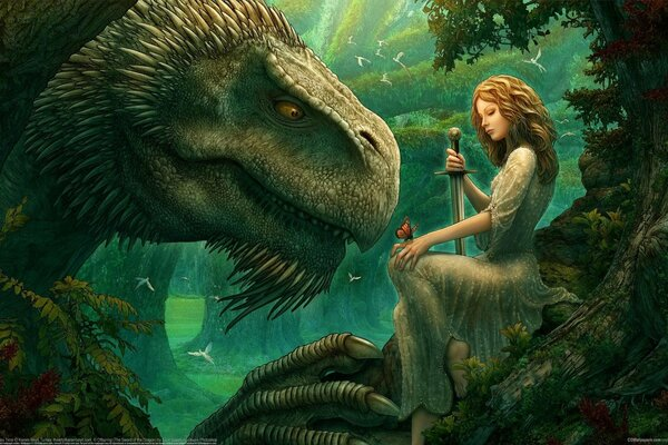 CG wallpapers Kerem Beyit Oganna's play time fantasy fairytales magic fairies dragon wizard girl elf butterfly sword enchanted forest birds фэнтези зачарованный лес сказка поляна деревья крылатые феи