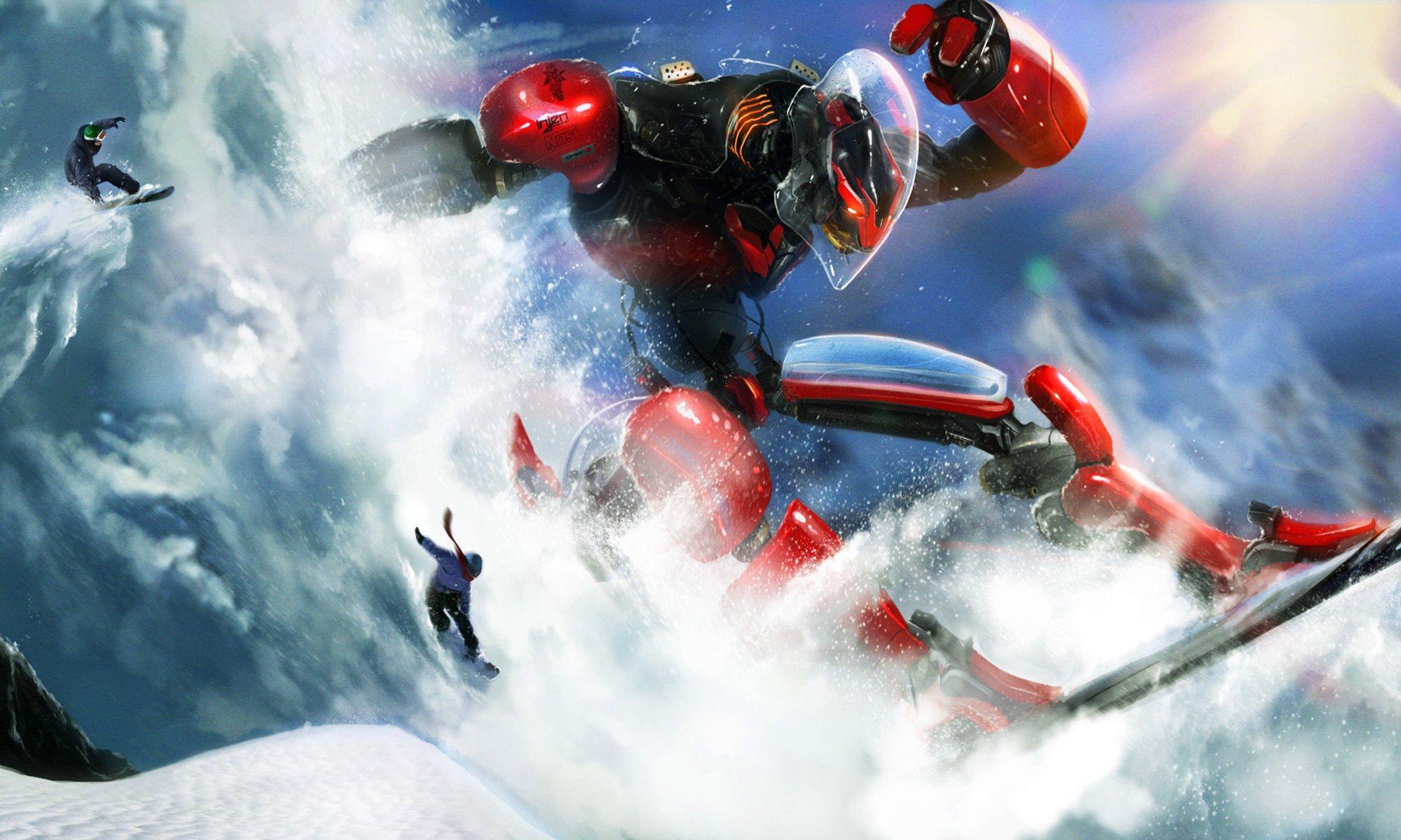 сноубордист вираж снег солнце  № 3559631 загрузить