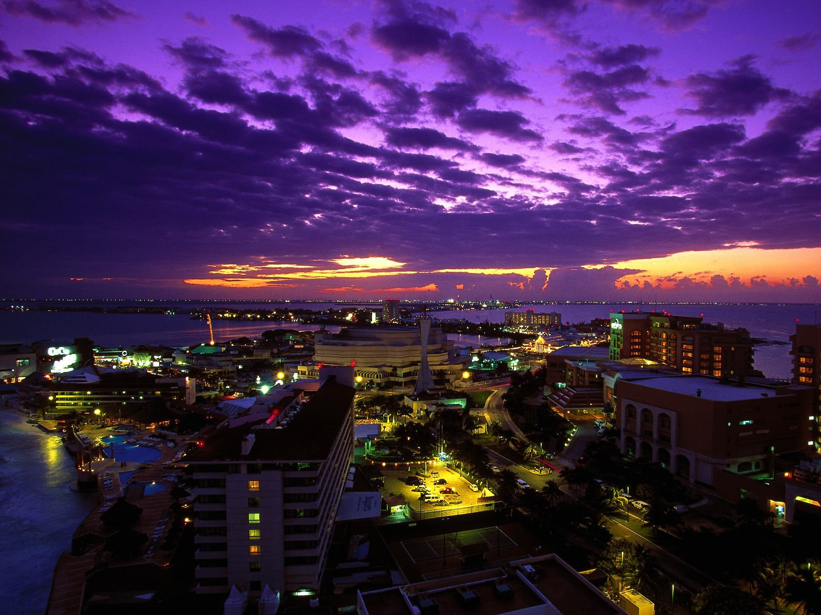 огни город море сумерки lights the city sea twilight бесплатно