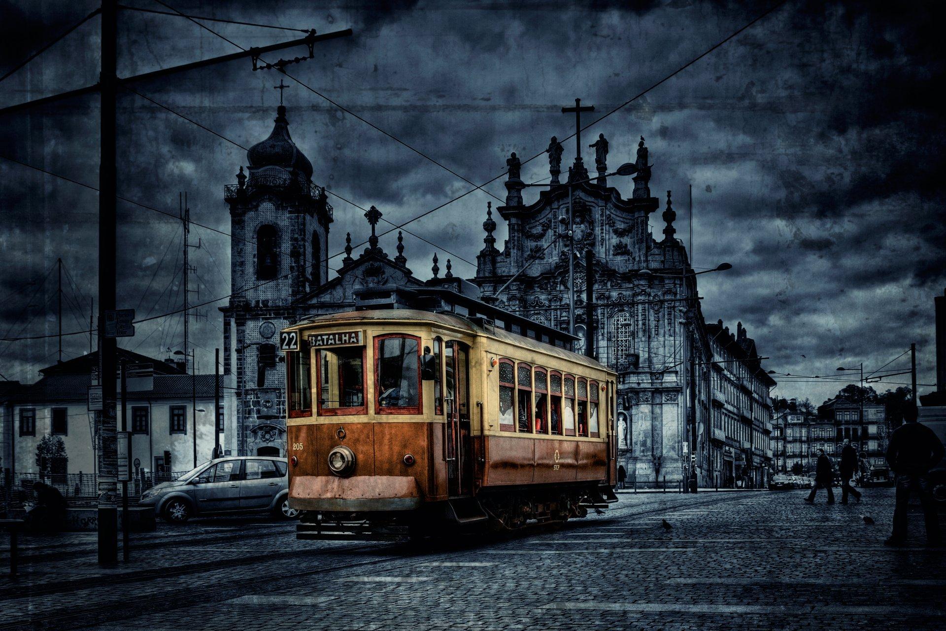 Обои трамвай, люди, улица, дома. Города foto 12