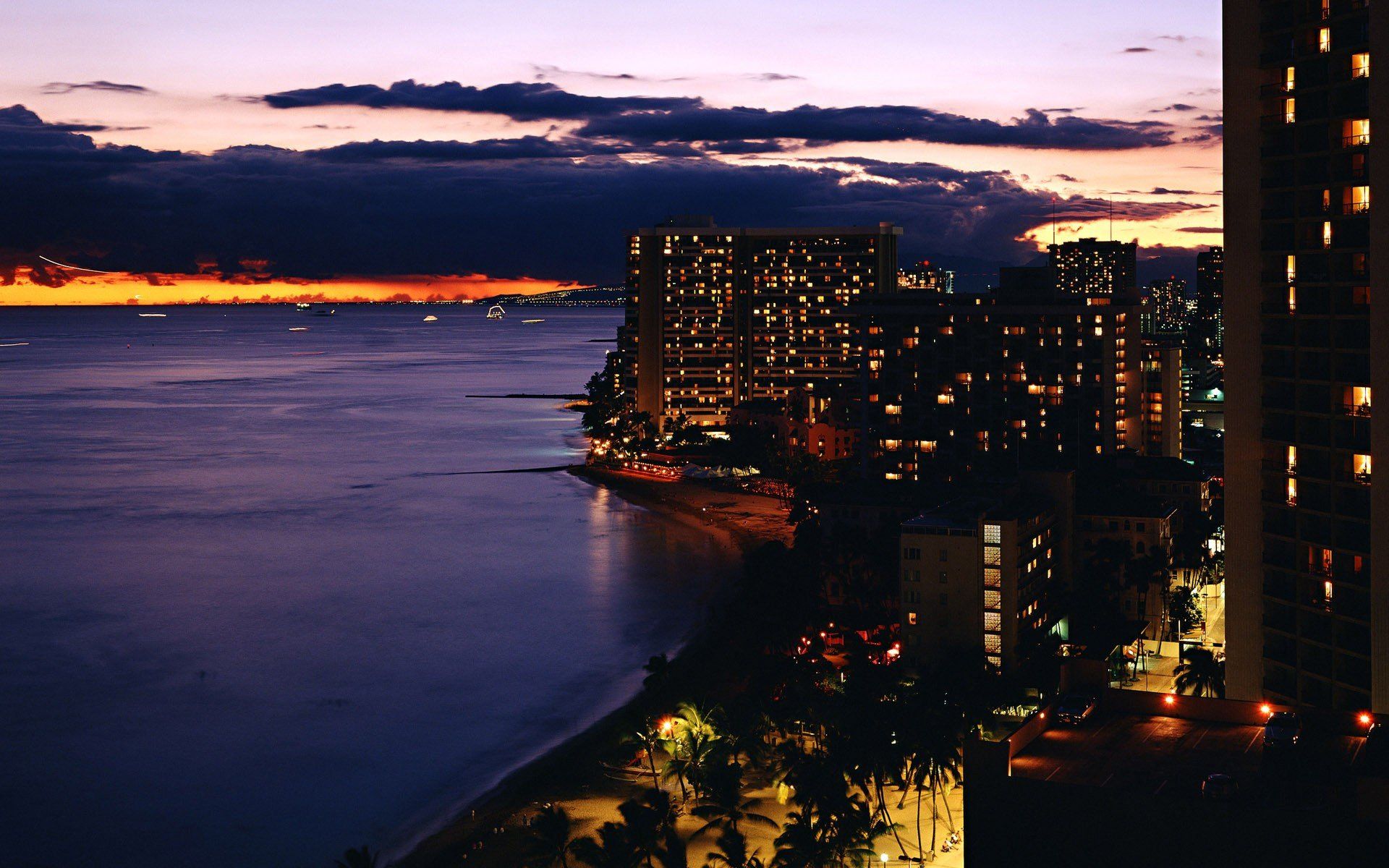 огни город море сумерки lights the city sea twilight  № 2659554 без смс