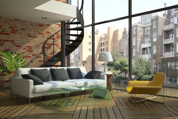 modern loft windows stairs sofa