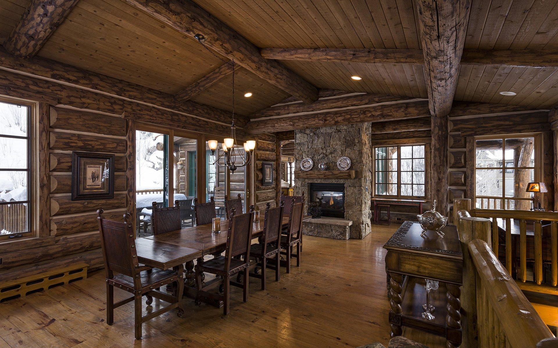 Blue sky lodge dinner room luxury home wooden log hd обои дл.