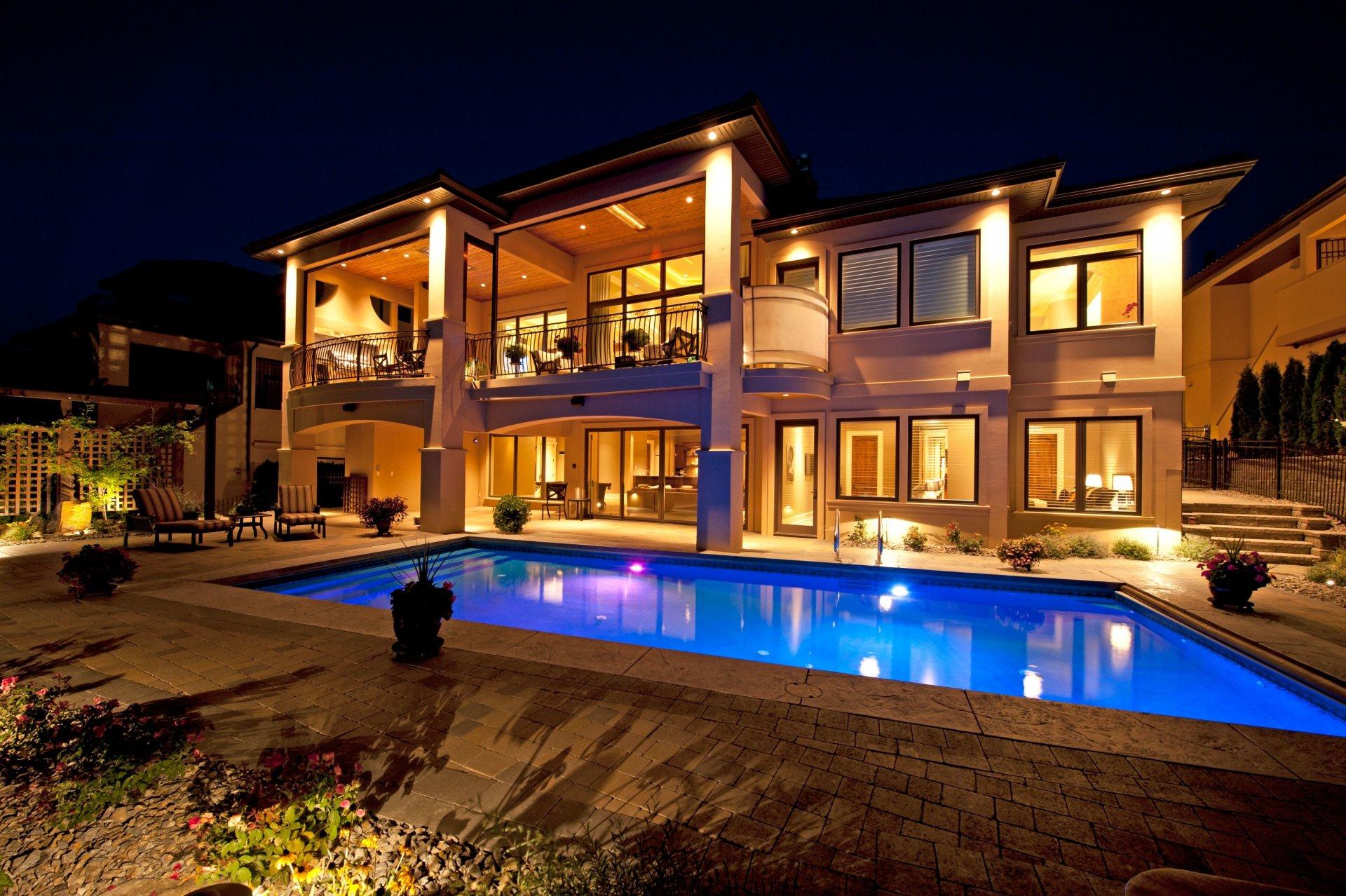 Обои бассейн, дизайн, ночь, особняк. Города foto 7