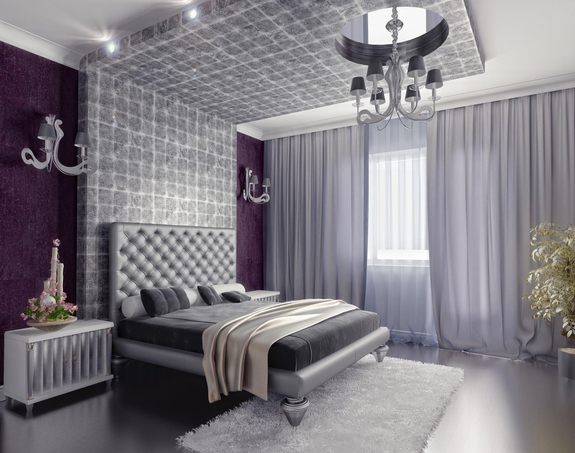 картинки штор в спальную комнату к сиренево серебристым обоям обои для