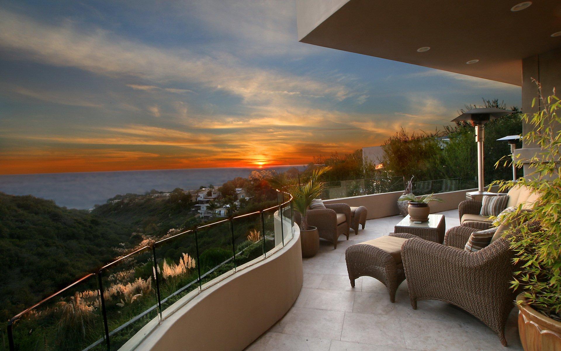 Рассвет закат природа горизорт море балкон интерьер кресла ф.