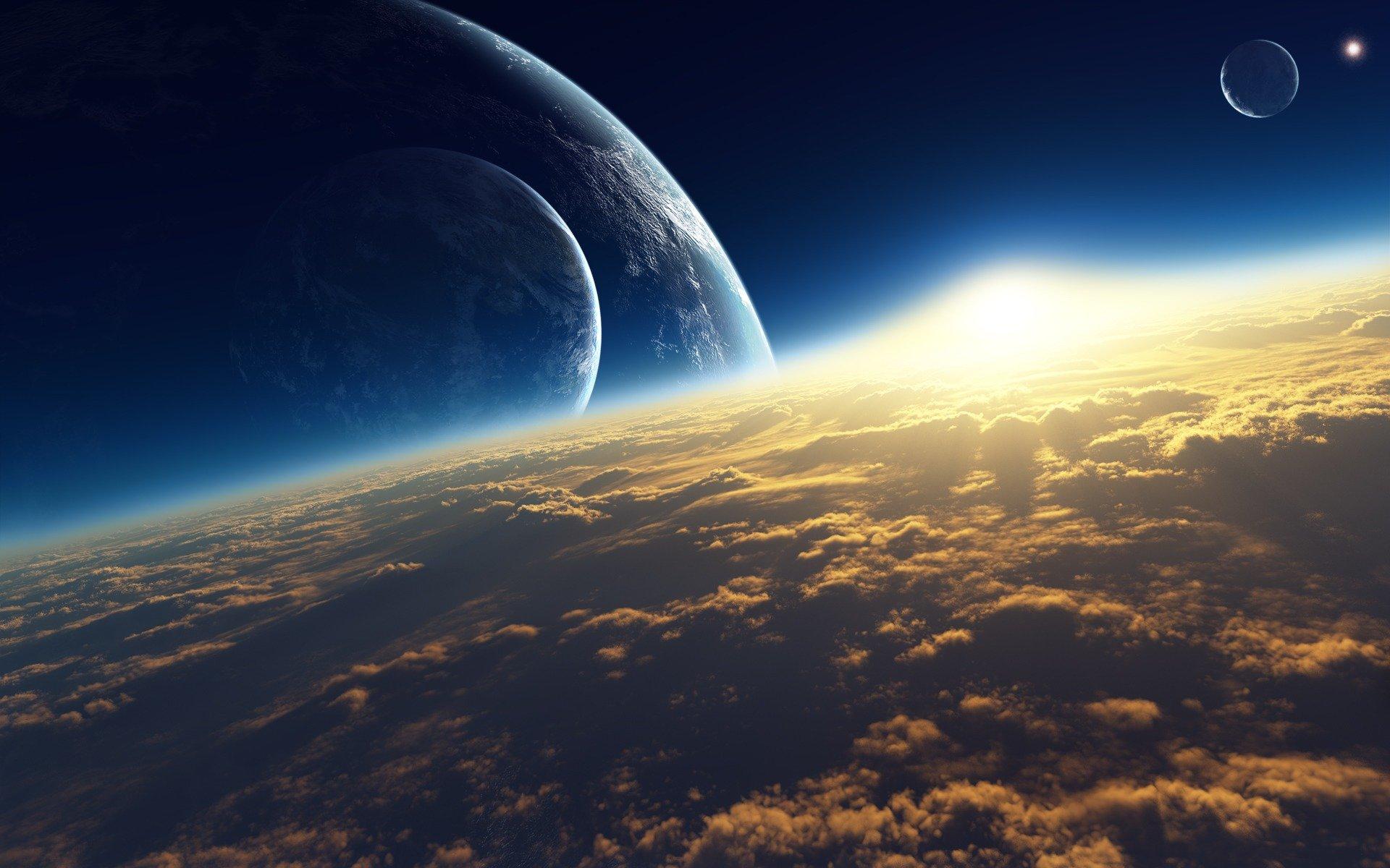 Обои Восход на орбите картинки на рабочий стол на тему Космос - скачать без смс