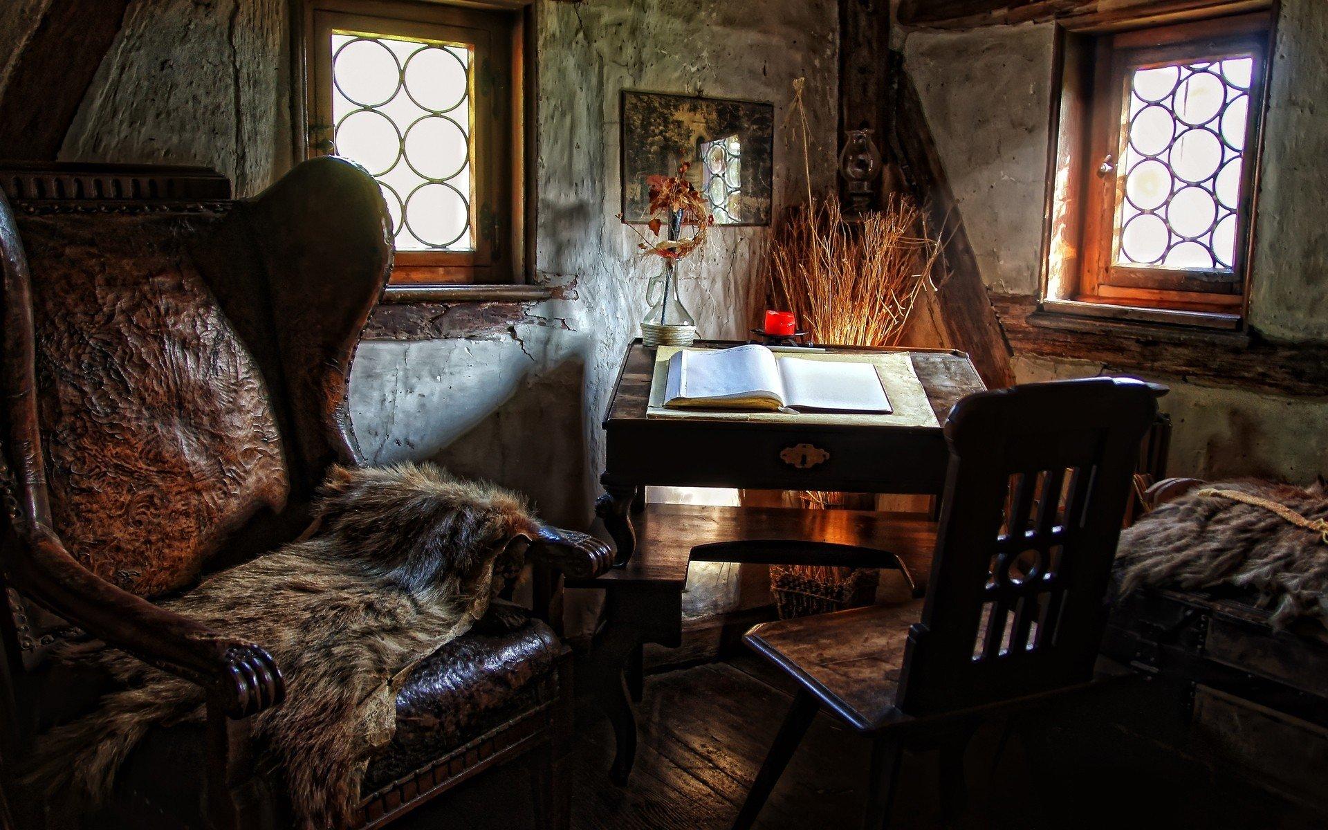 интерьер книги дерево кресла стол ковер загрузить