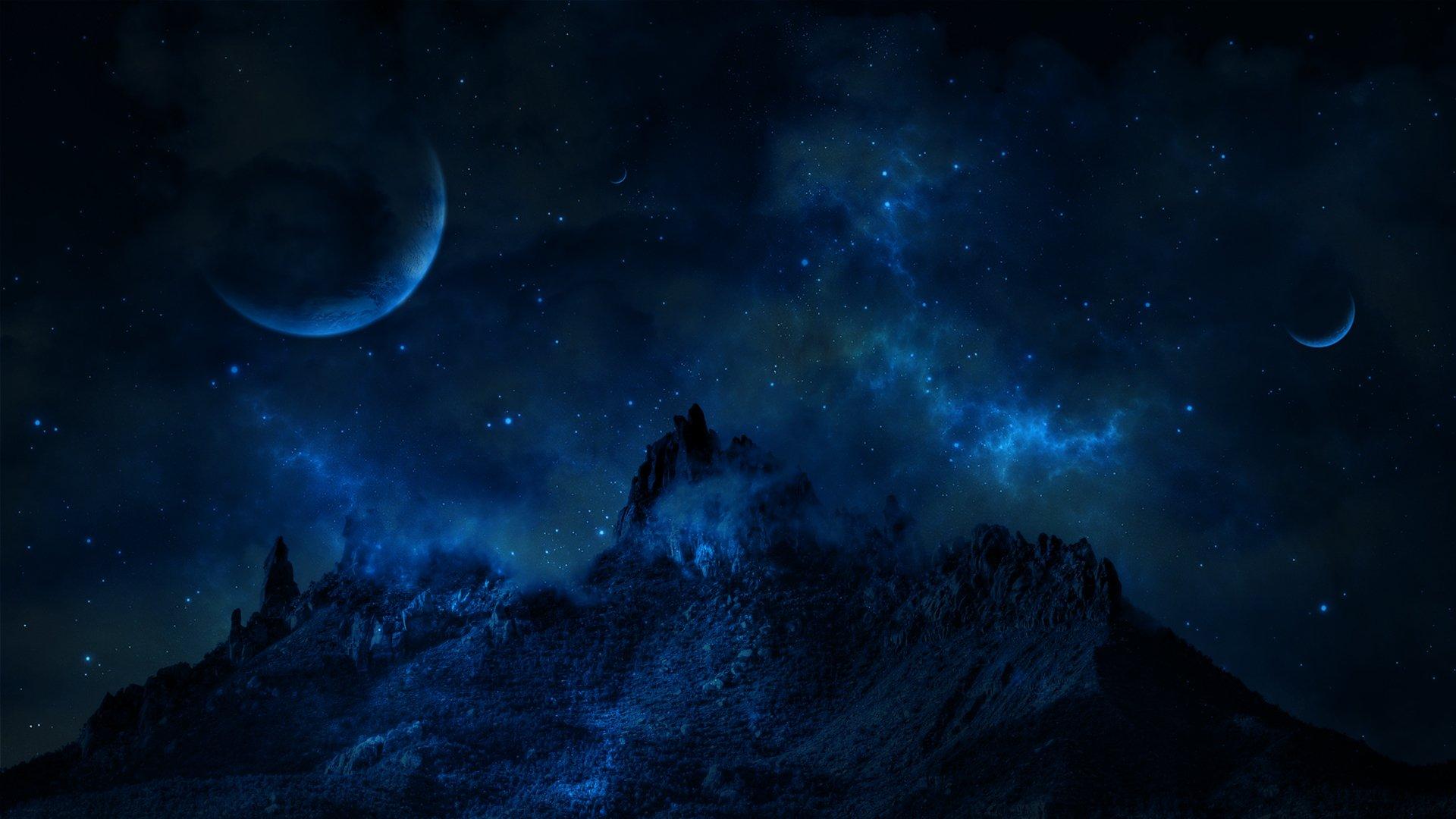 природа космос горы скалы небо звезды ночь  № 851872 бесплатно