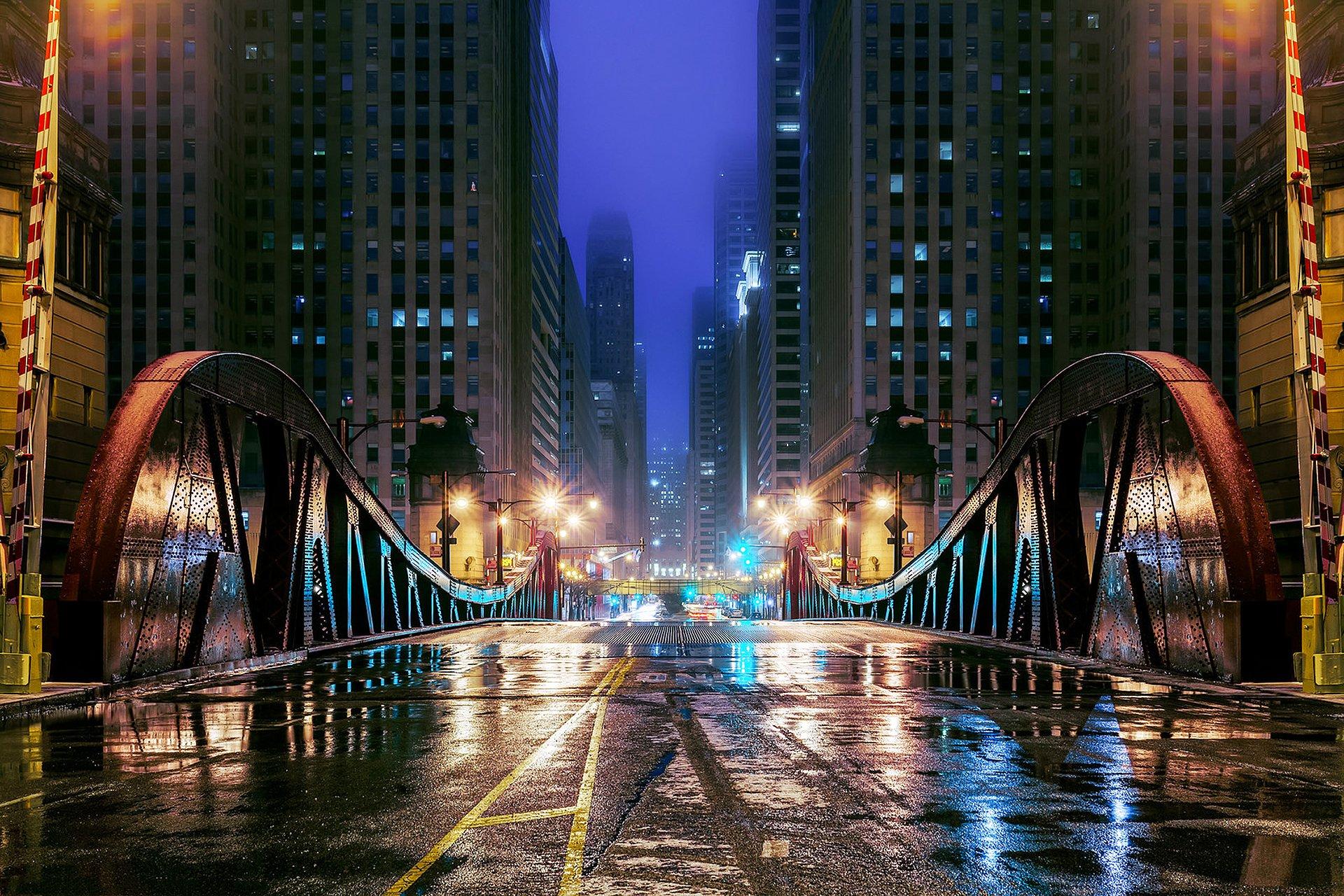 небоскреб отражение огни вечер город загрузить