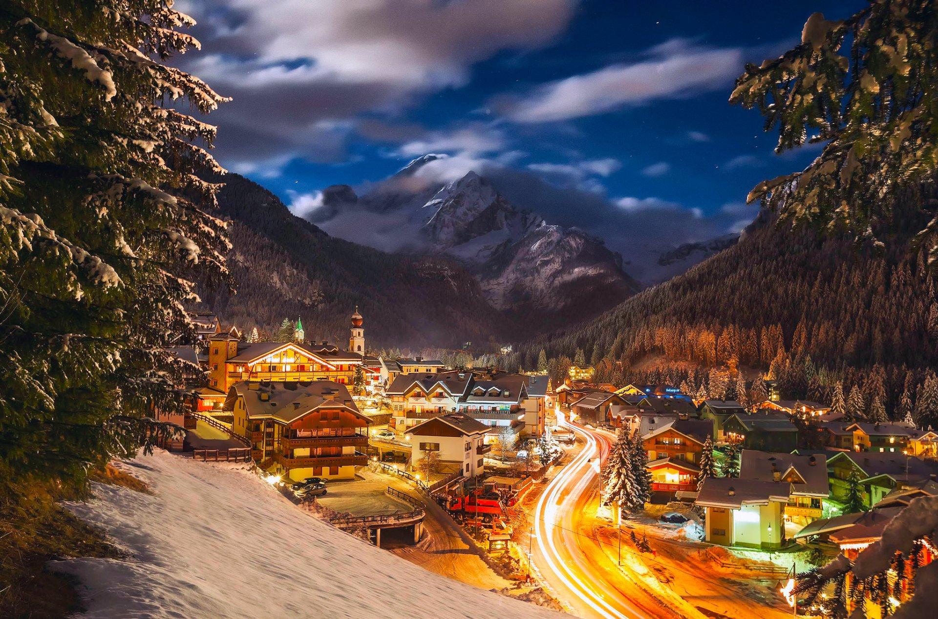 Обои зима, фонарь, Альпы, снег, ноч, Канацеи. Разное foto 8