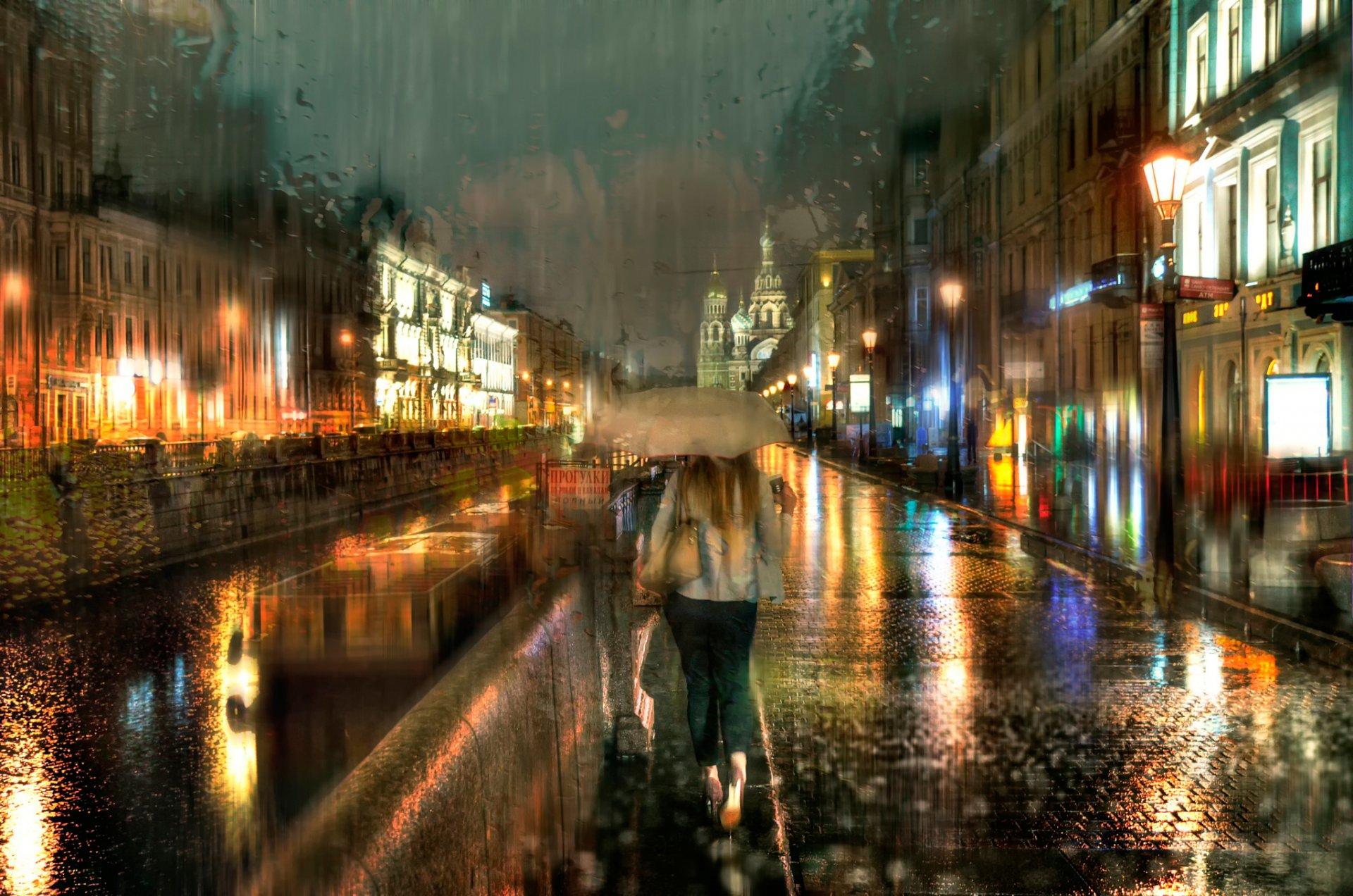 Обои зонт, капли, россия, дождь. Города foto 11