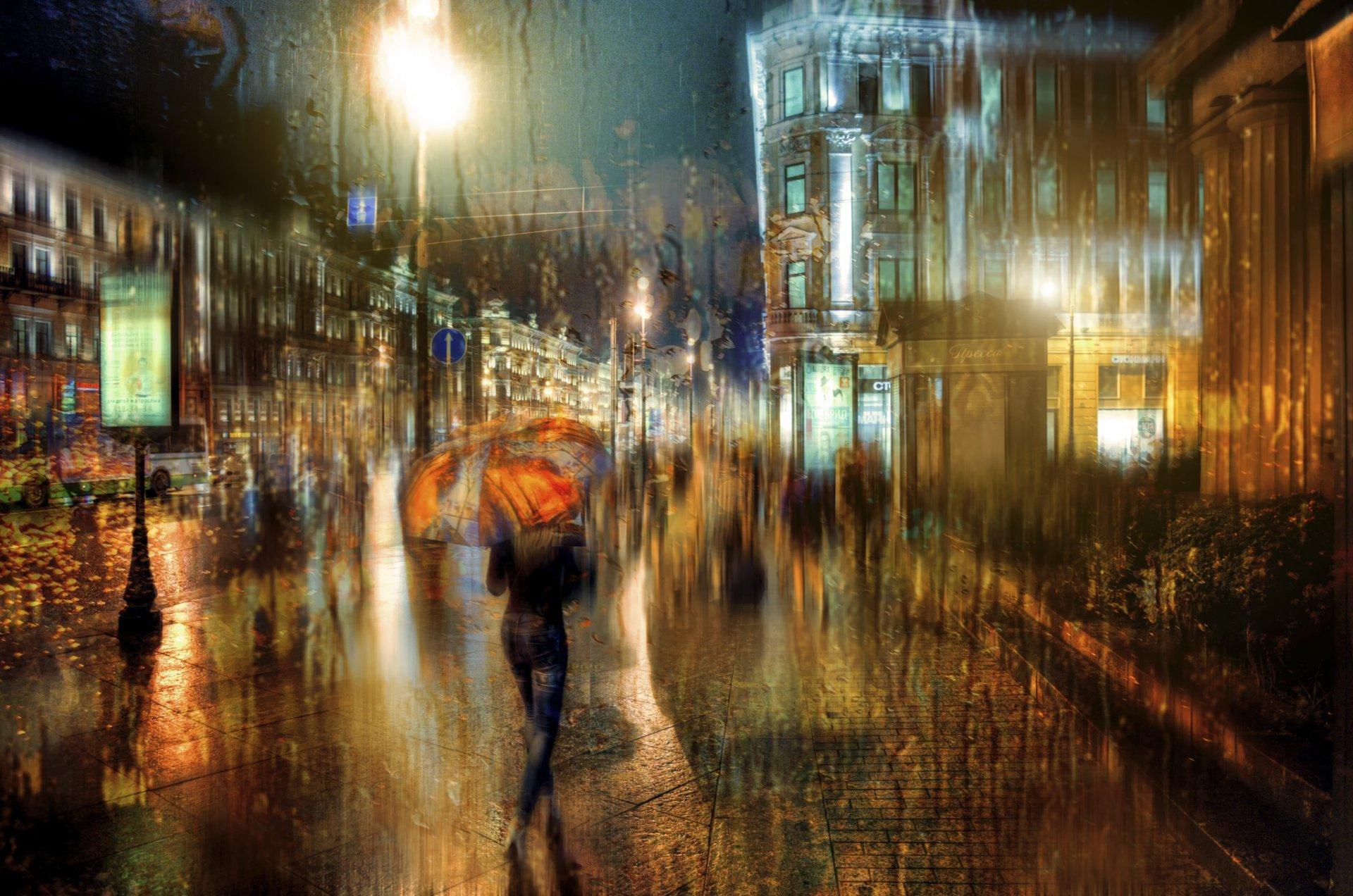Обои зонт, капли, россия, дождь. Города foto 14