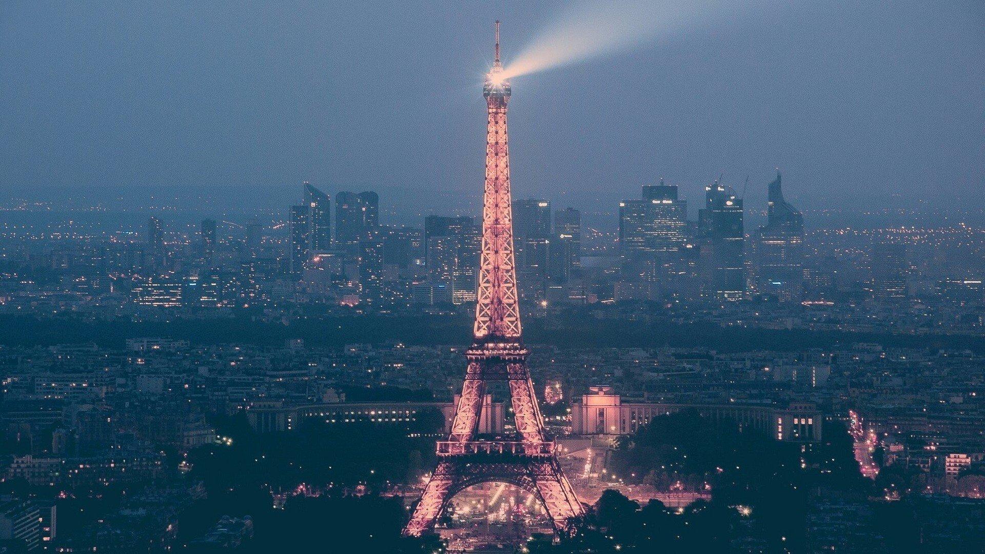 Париж сумерки ночь город вечер  № 2227443 без смс