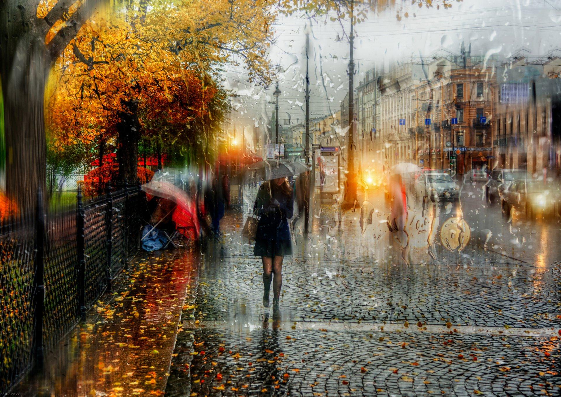 Обои зонт, капли, россия, дождь. Города foto 10