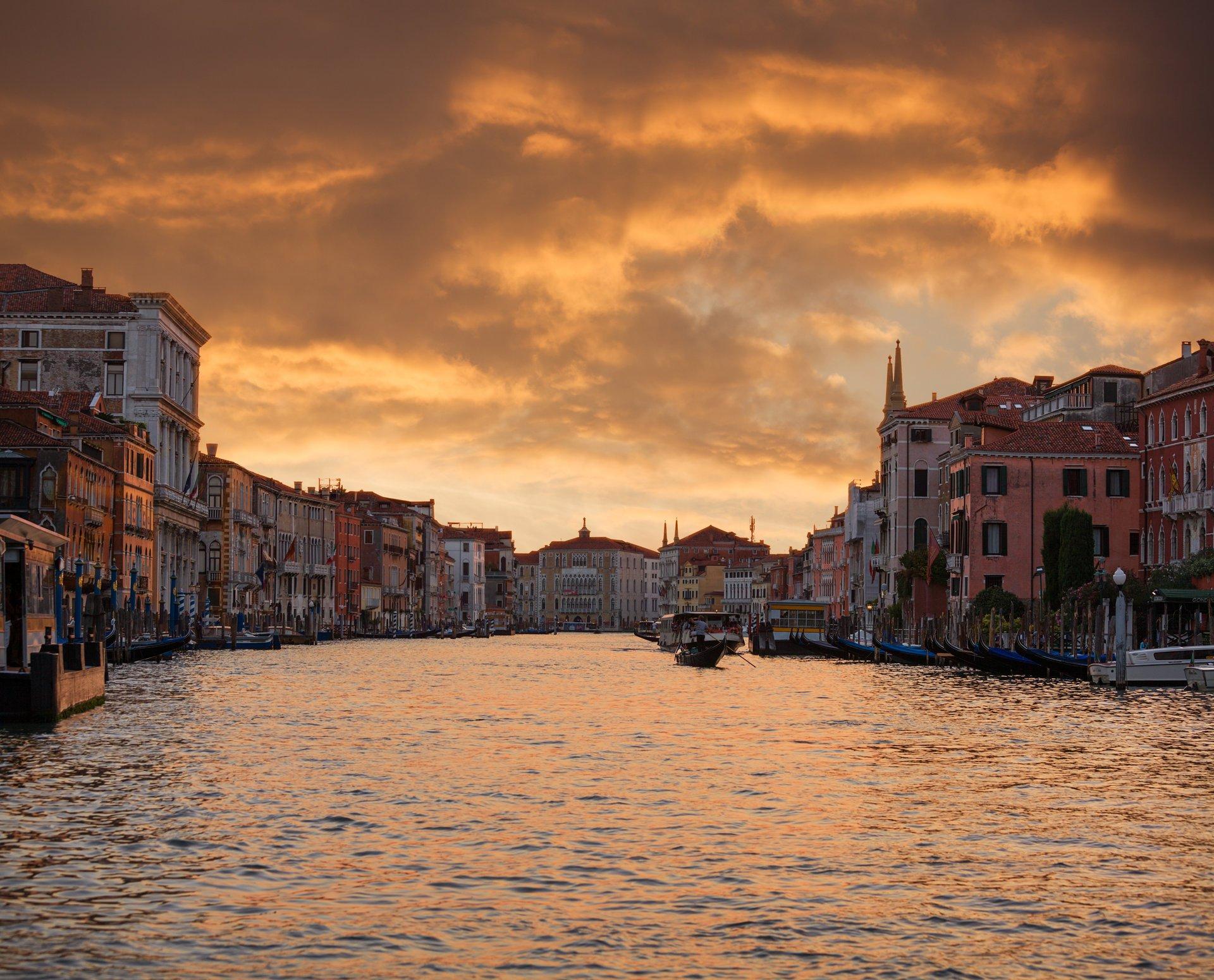 Обои дома, grand canal, водный канал, катера, венеция. Города foto 14