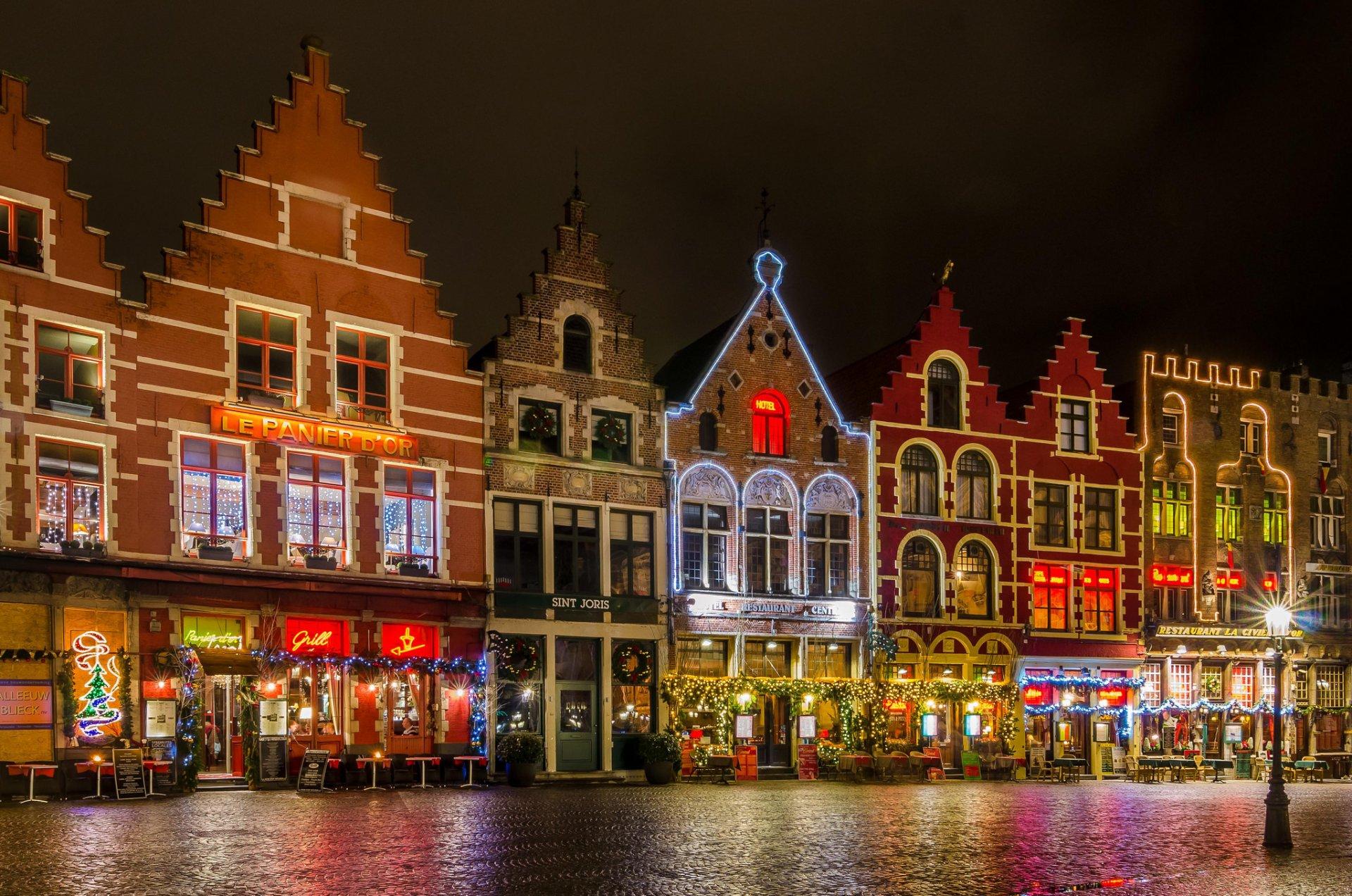 бельгия брюгге гроте-маркт площадь ночь огни рождество HD обои для ...