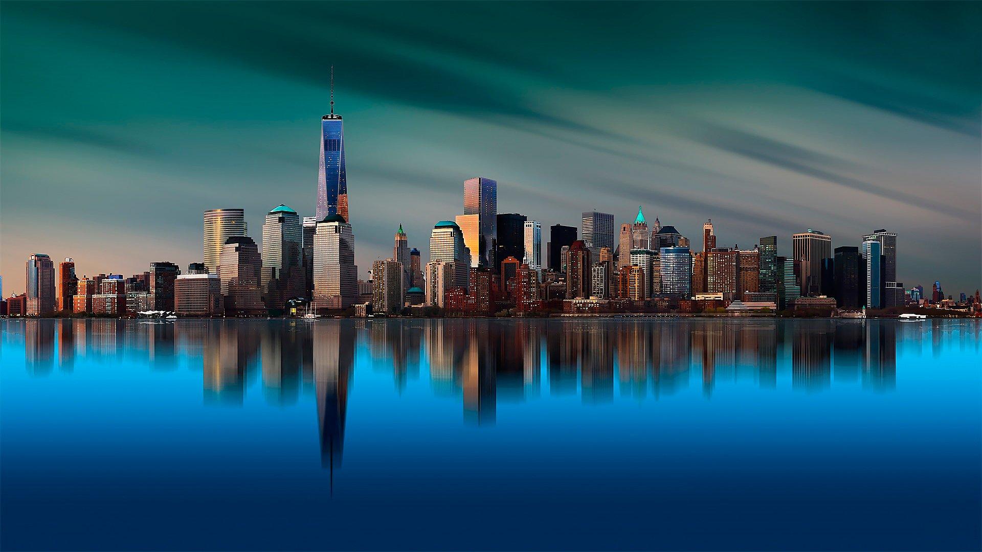 небоскребы город отражение ночь бесплатно