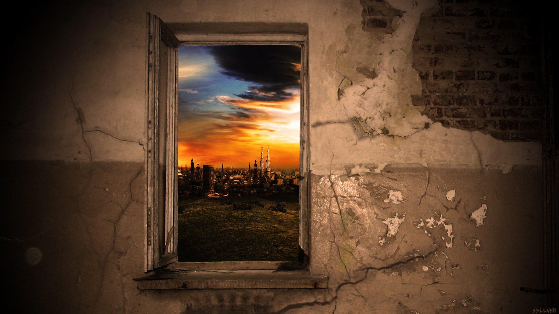 Wall windows bricks city hd обои для ноутбука.