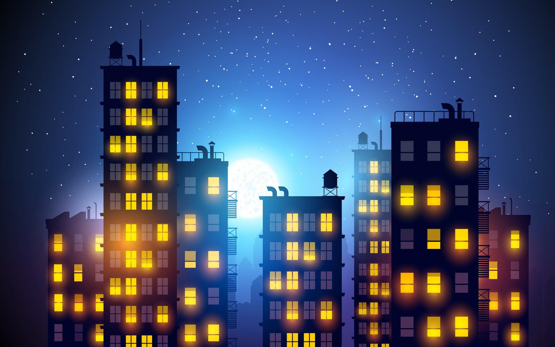 Обои небоскребы, ночь, дома. Города foto 8