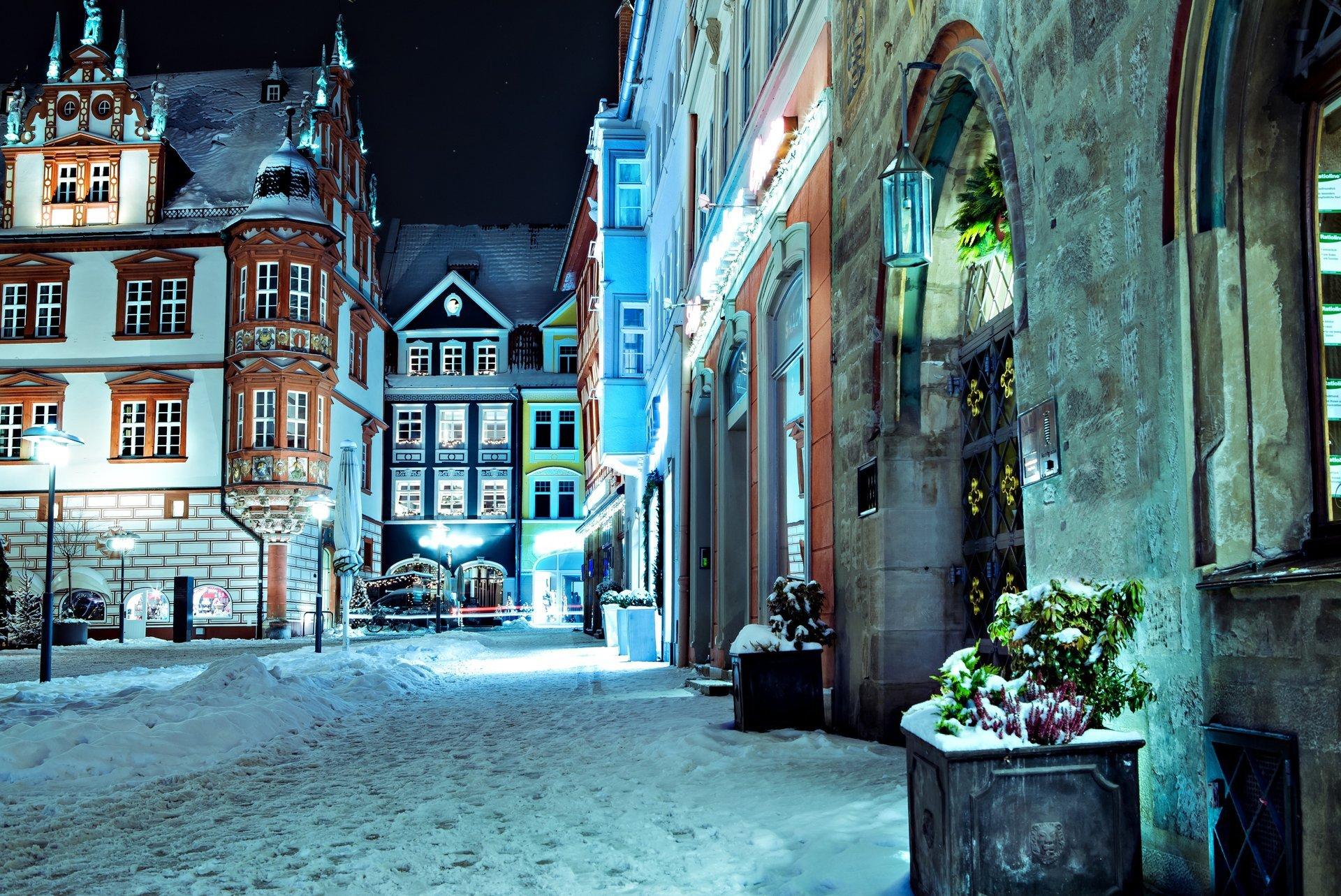 Обои улица, ночь, дома, фонари, германия, дороги. Города foto 8