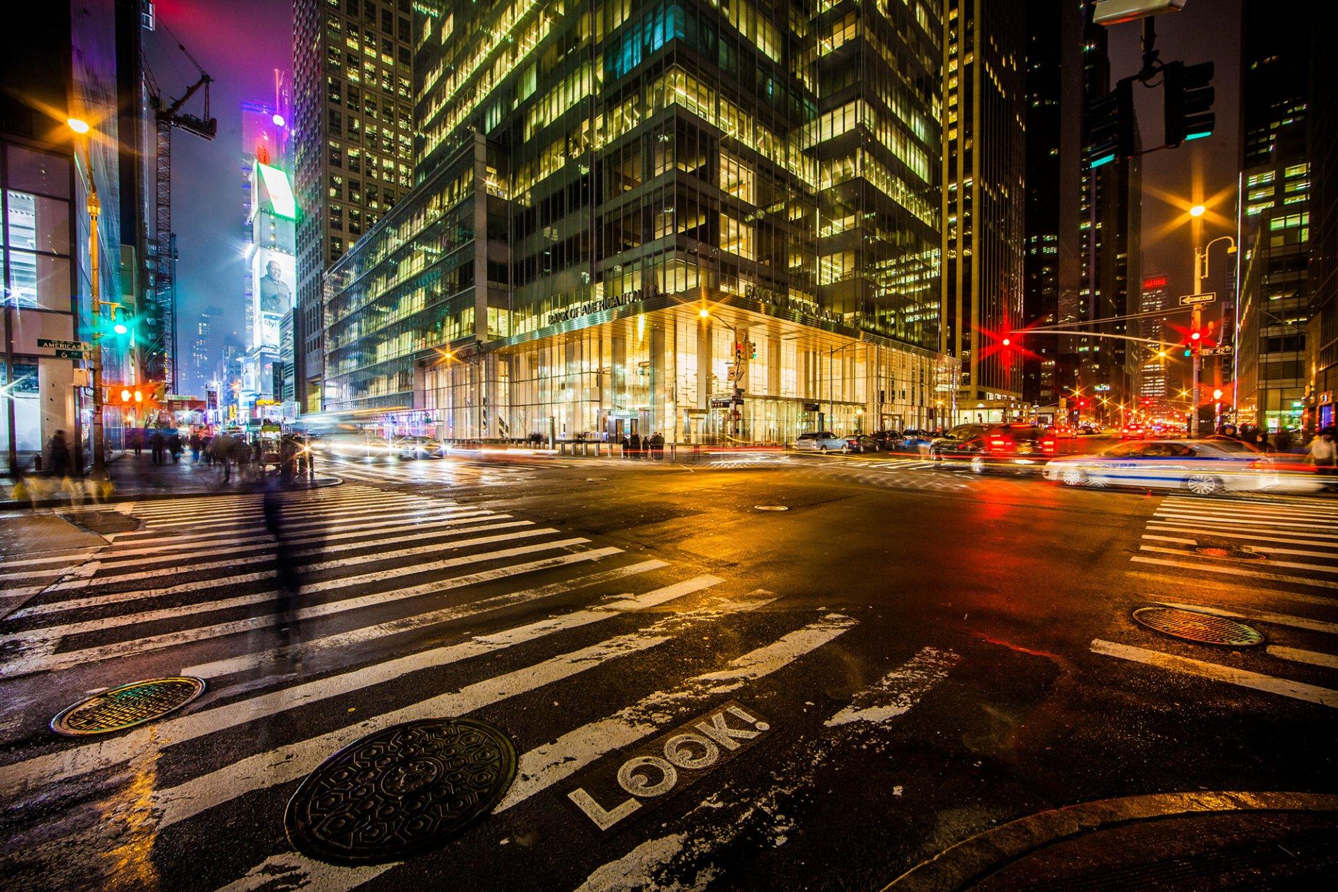 Обои фонари, ночь, люди, сша. Города foto 10