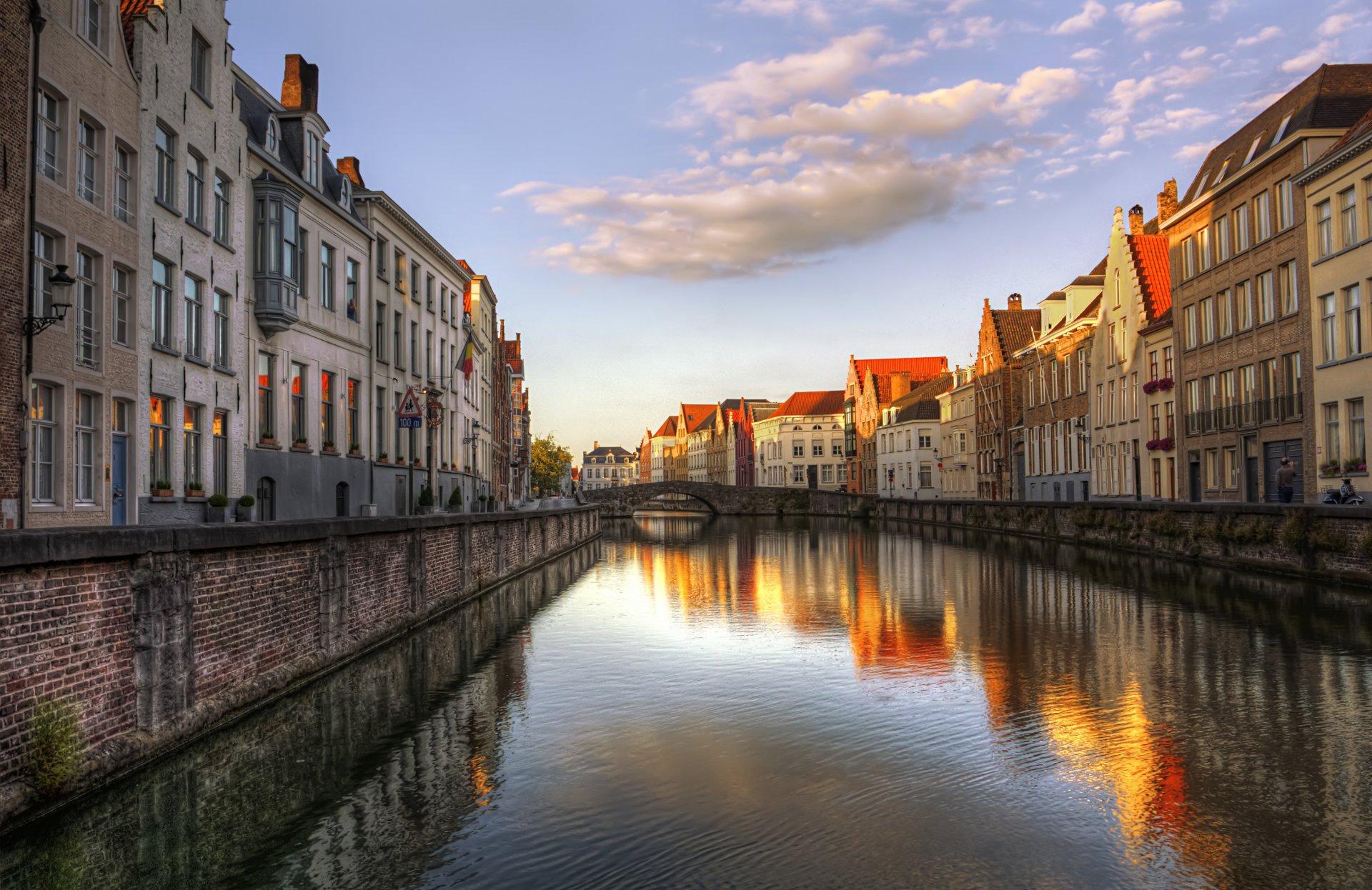 Обои канал, бельгия, брюгге, дома, ночь. Города foto 19