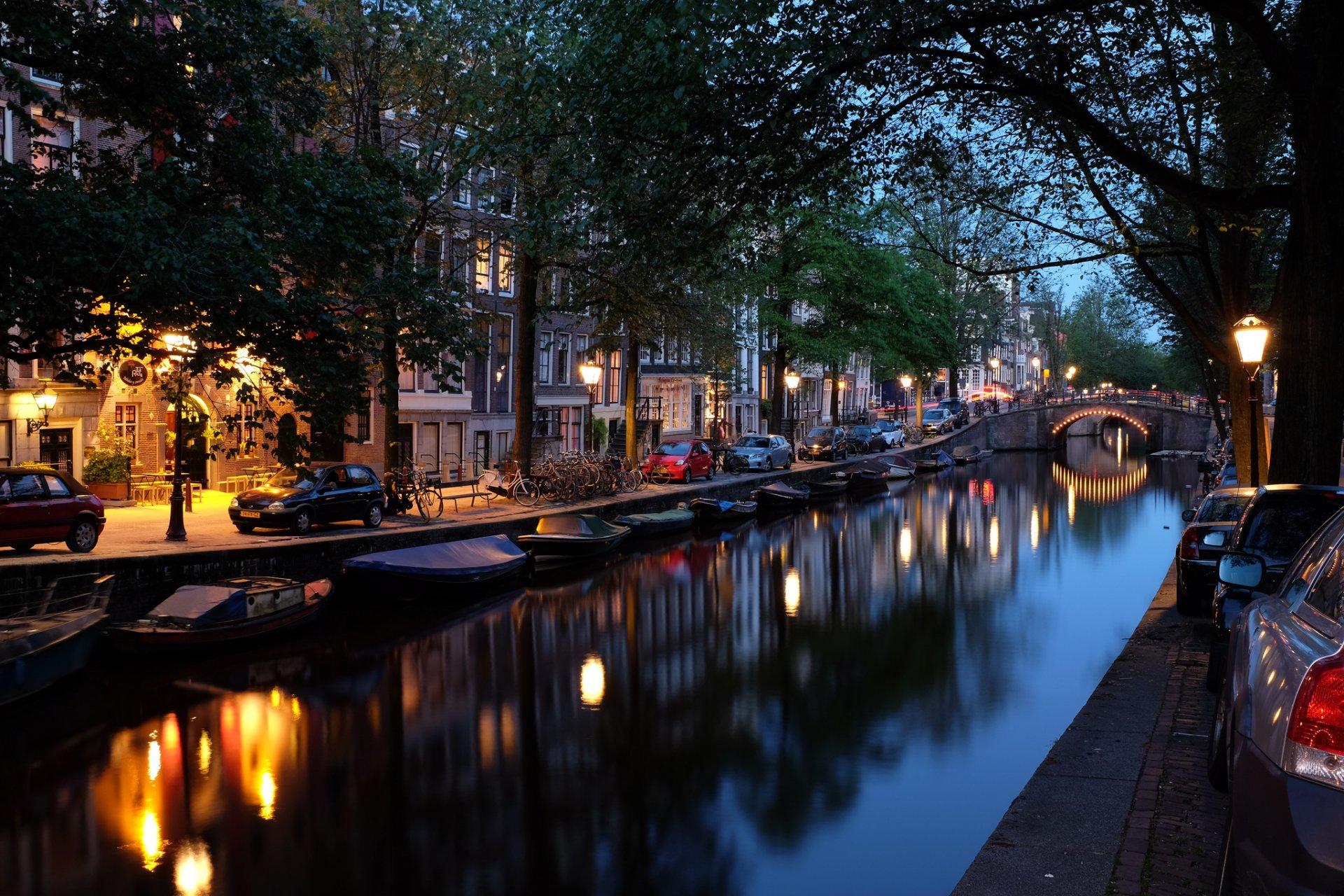 Обои канал, нидерланды, дома, ночь. Города foto 18