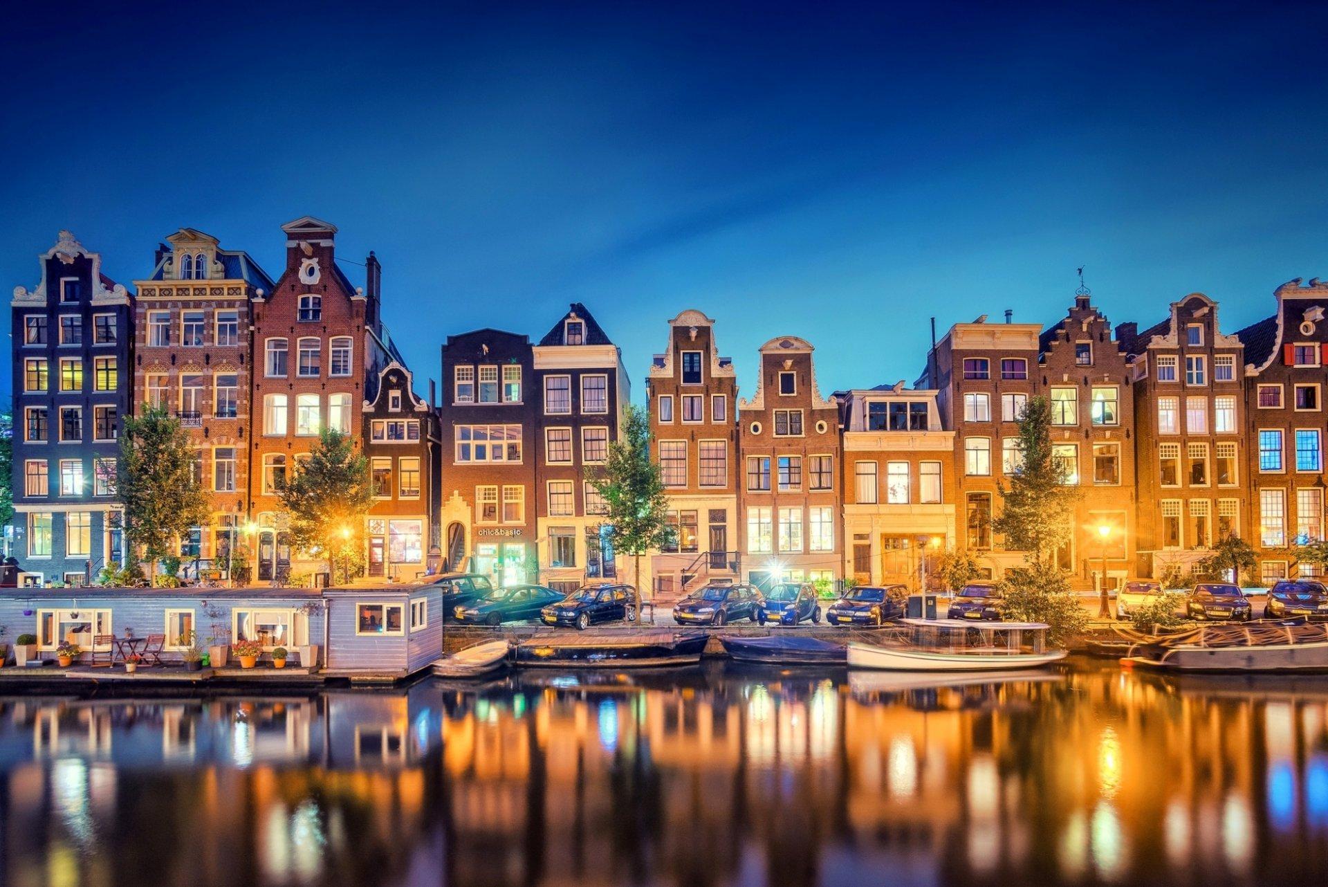 Обои канал, нидерланды, дома, ночь. Города foto 14