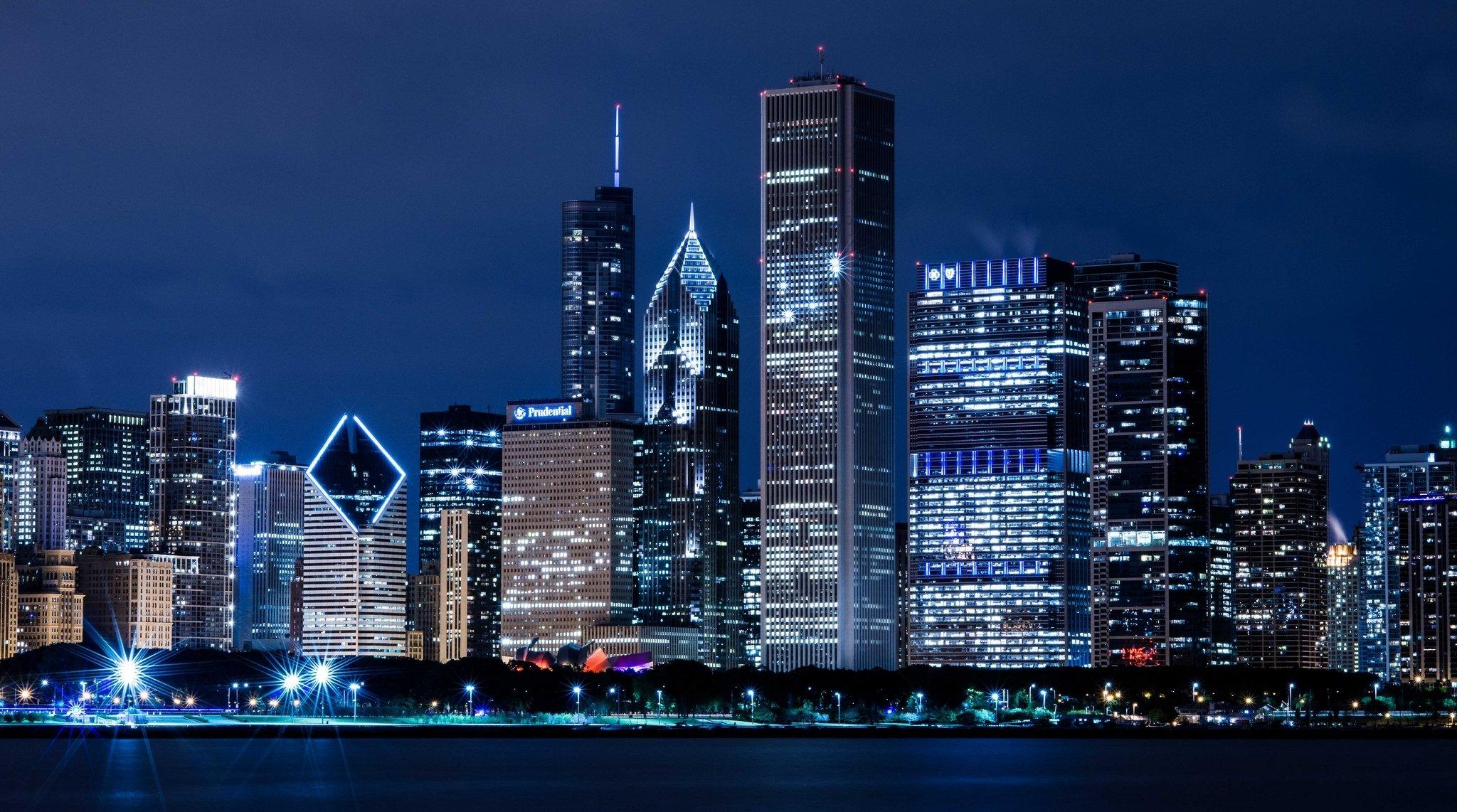 Обои skyline, чикаго, сша, one prudential plaza, chicago. Города foto 17