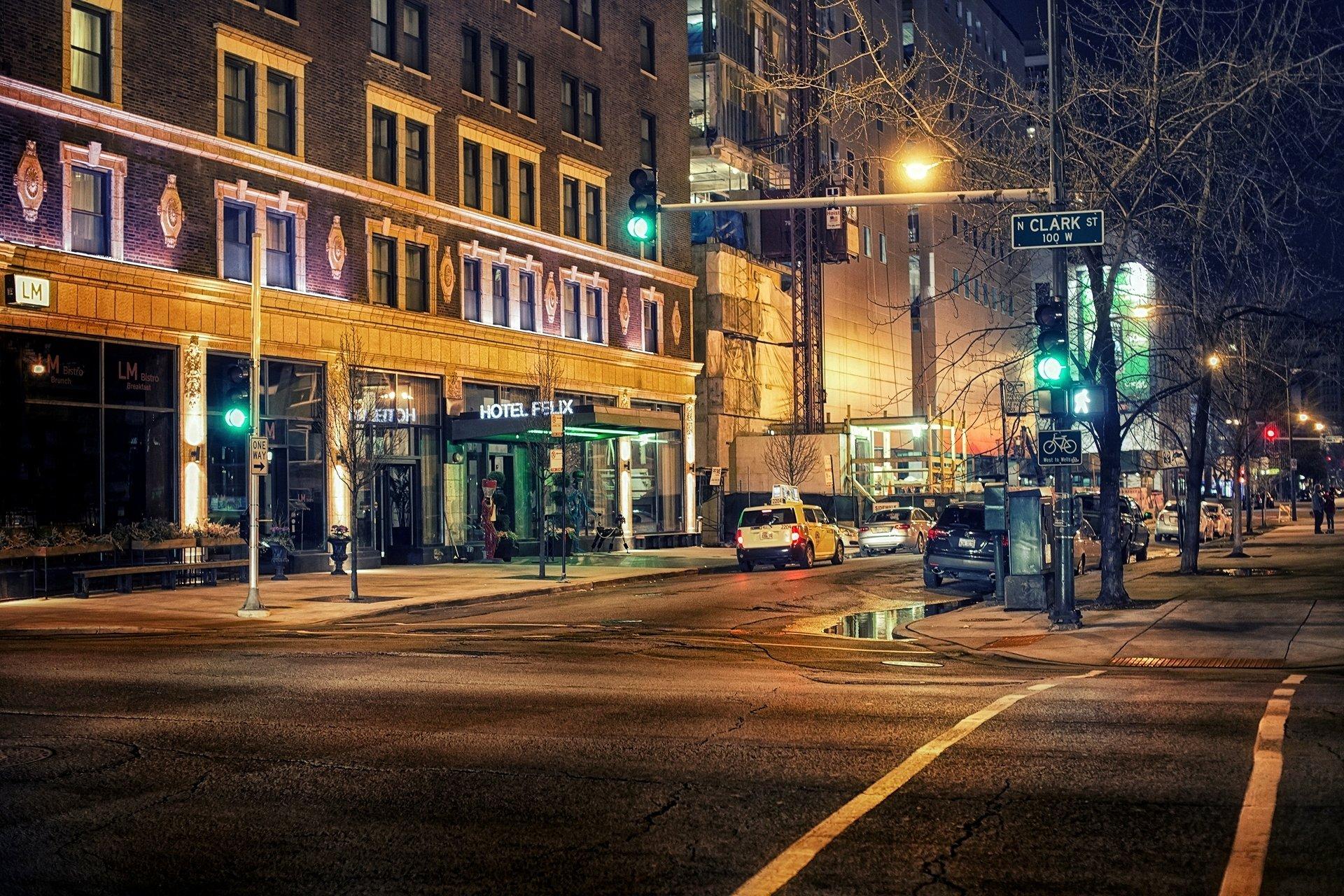 Обои фонари, ночь, люди, сша. Города foto 18