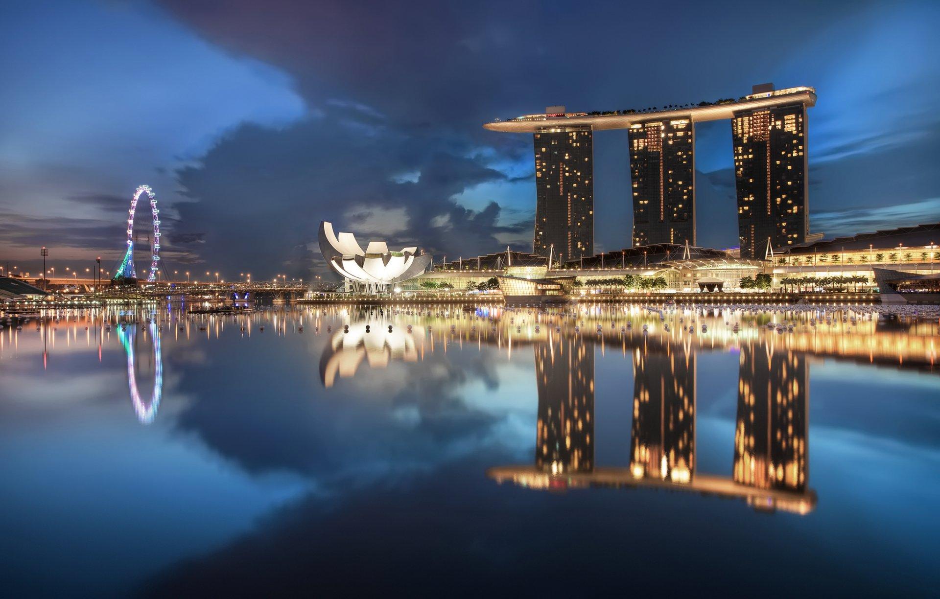 страны архитектура Сингапур ночь  № 1475998 бесплатно