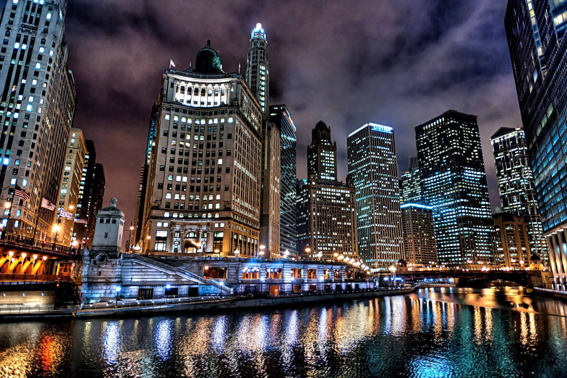 небоскребы город отражение ночь загрузить