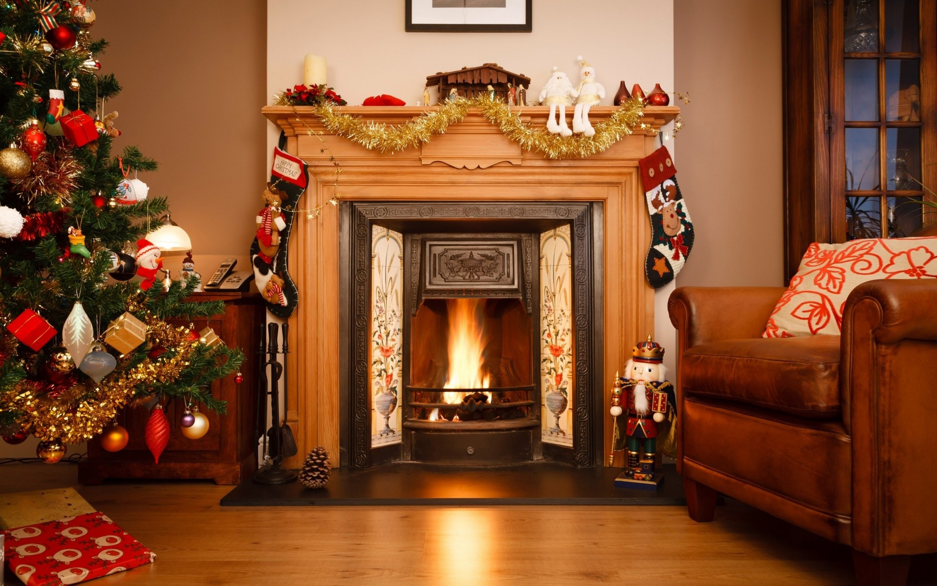 three chicks are fucking next to the fireplace on christmas  269290