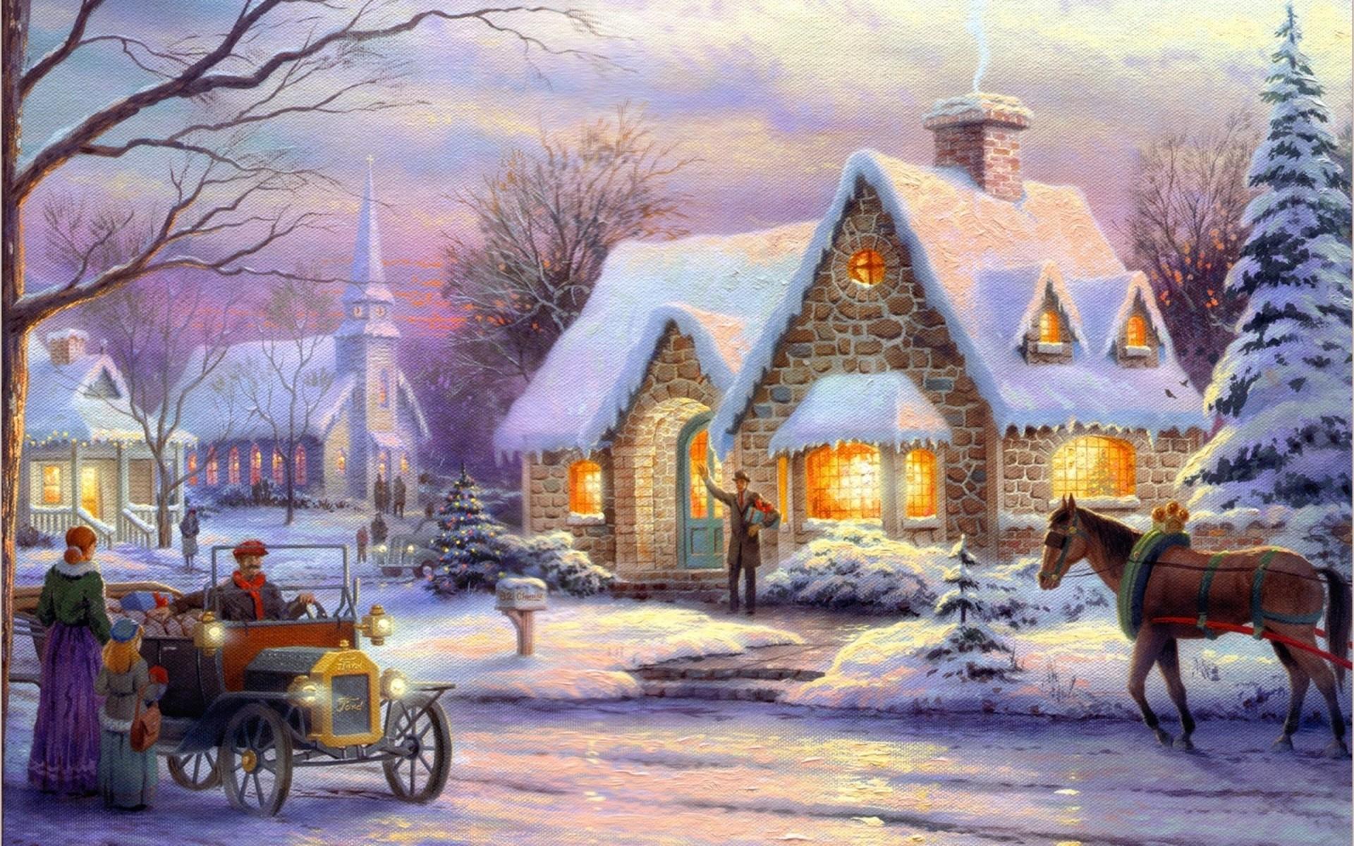 Новогодние домики томас кинкейд картинки, декабря