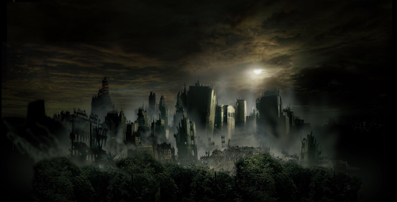 Обои темное небо, разрушенный город, небоскребы. Города foto 6