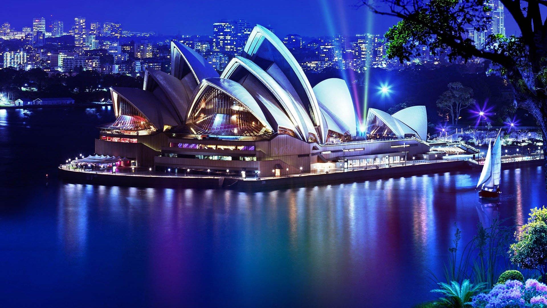 Обои Здание оперного театра в сиднее, ночь. Города foto 7