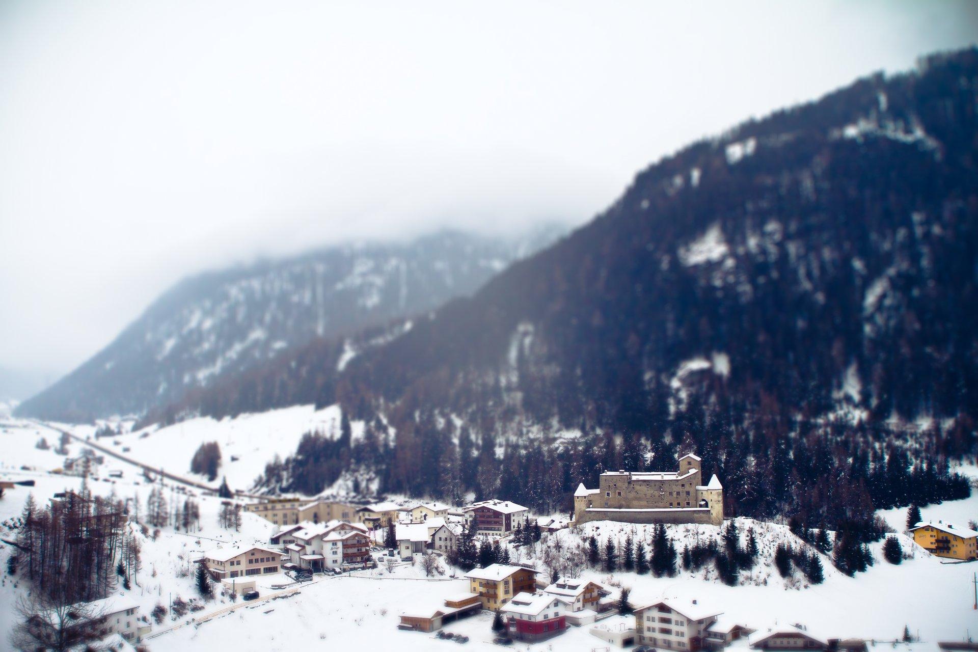 Обои альпы, тилт-шифт, курорт, городок. Города foto 18