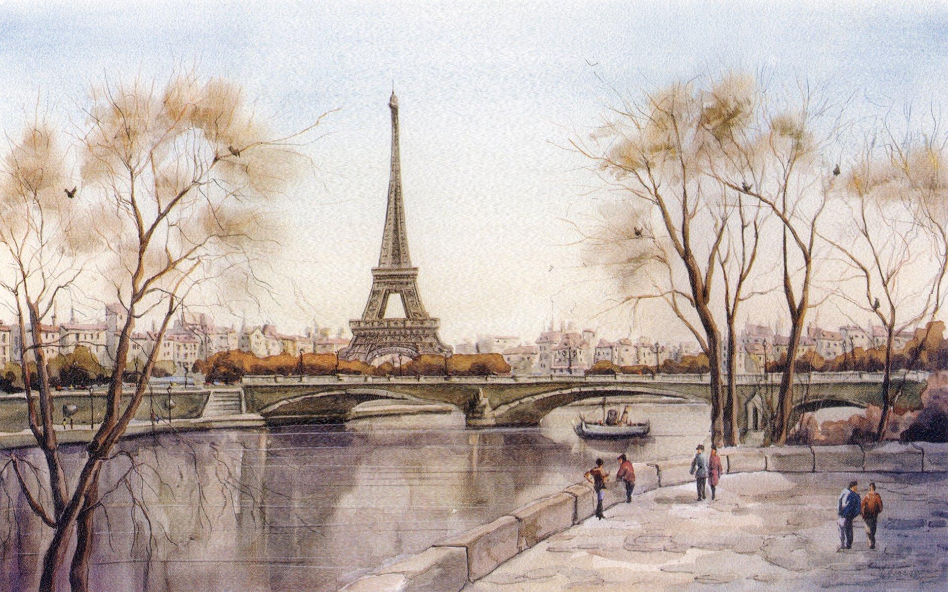 Обои Эйфелева башня, рисунок. Города foto 8