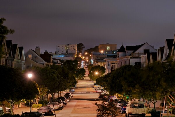 pierce street san francisco california street night калифорния улица ночь огни