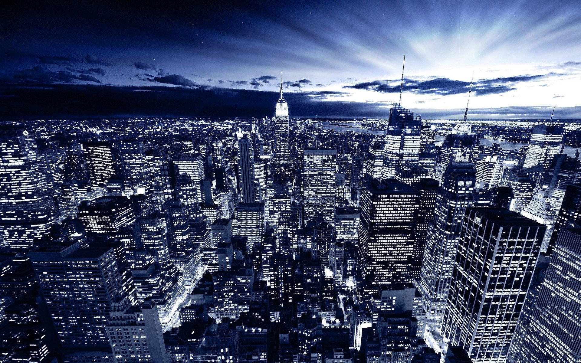 небоскребы ночь город  № 3358916 бесплатно