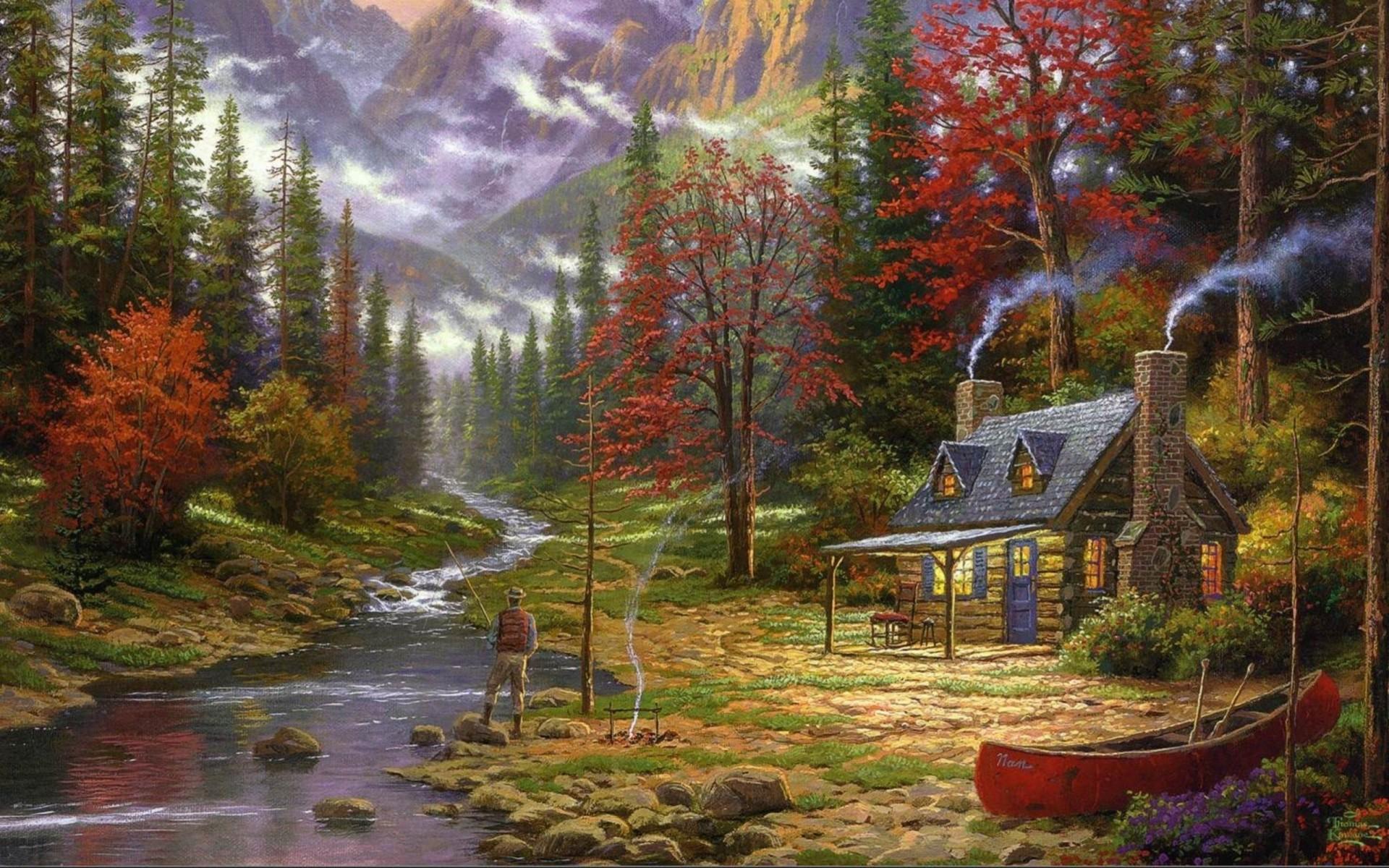 Картинки домик в лесу анимация, для пригласительной открытки