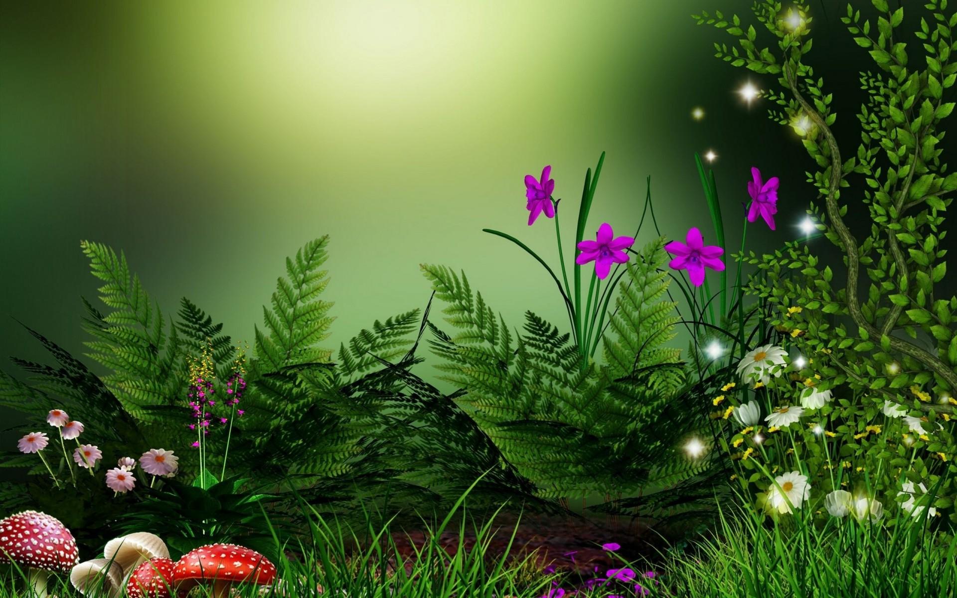 цветы, разноцветие, зелень скачать
