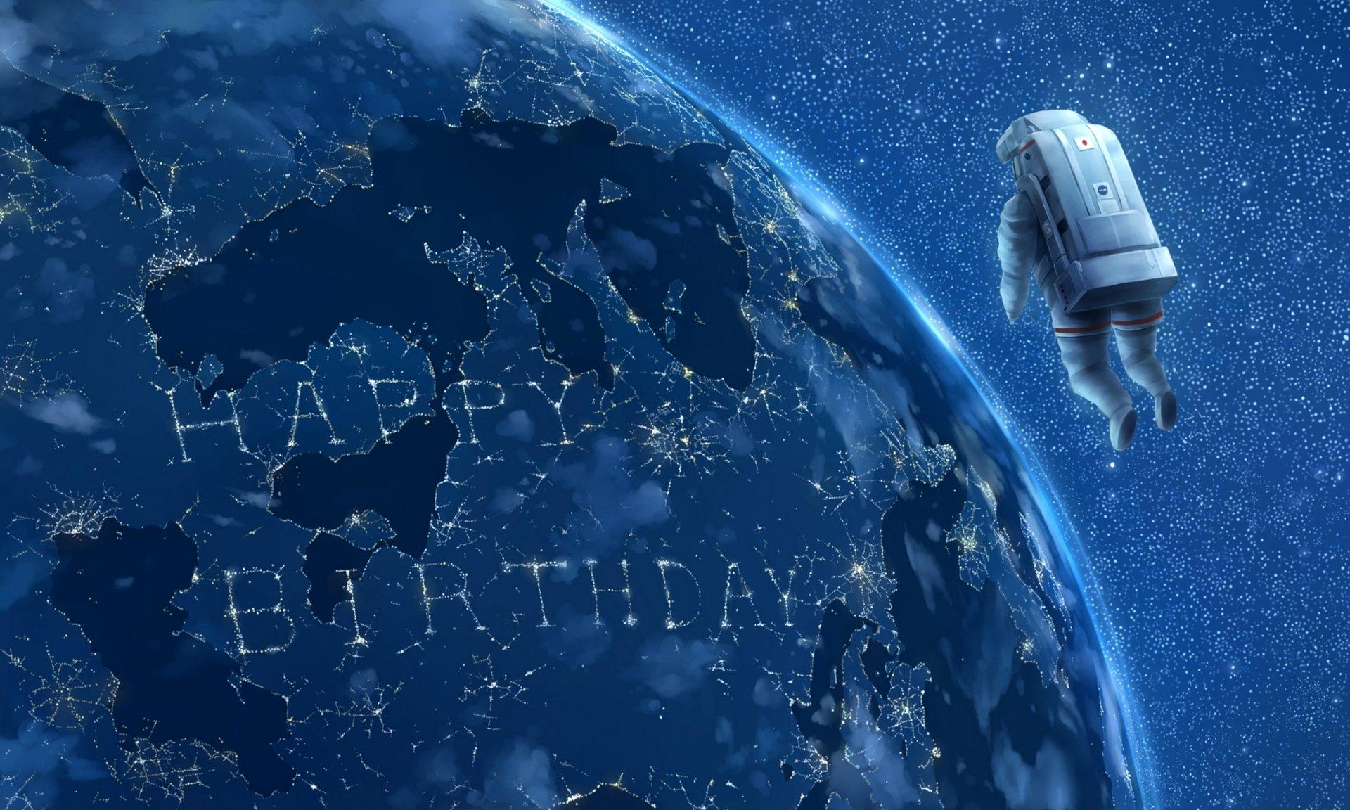 Годовщиной, открытка с космосом