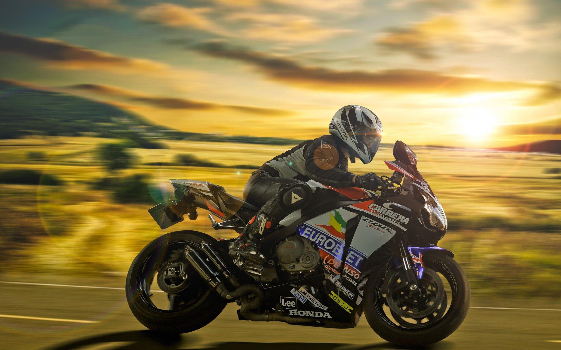 Обои мотоциклист, гонка. Мотоциклы foto 6
