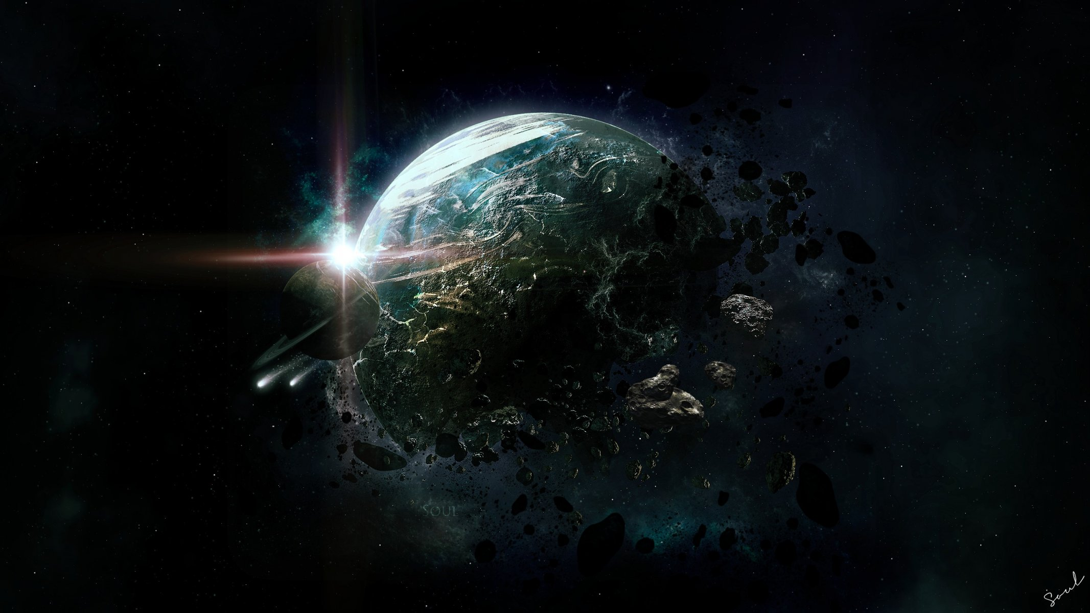 Обои обломки, астероиды, земля. Космос foto 8